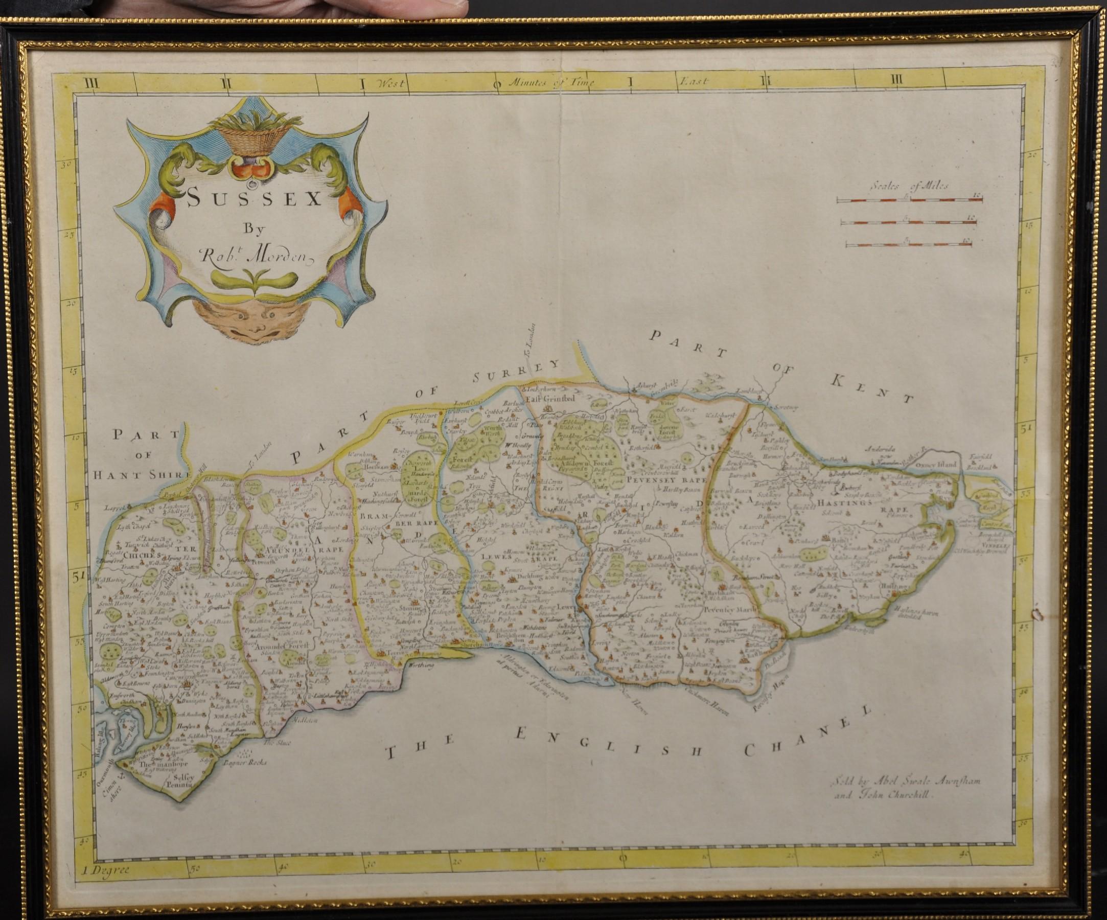 """Robert Morden (c1650-1703) British. """"Sussex"""", Map, 15"""" x 18"""". - Image 2 of 4"""