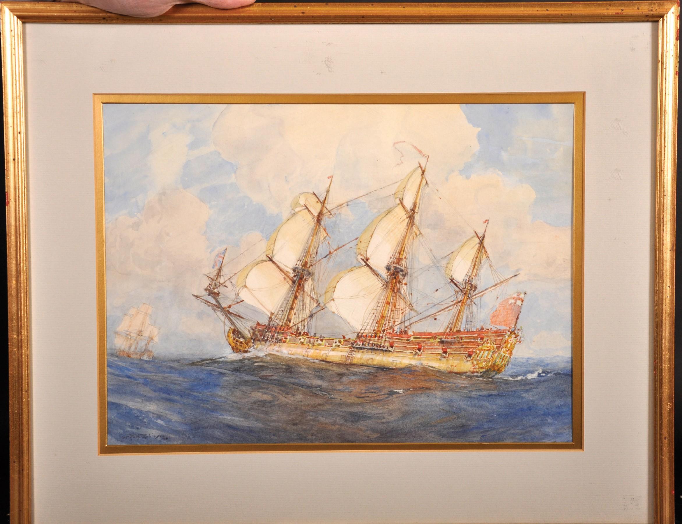 Gregory Robinson (1876-1967) British. Three Masted Sailing Ship at Sea, Watercolour, Signed, 10. - Image 2 of 5