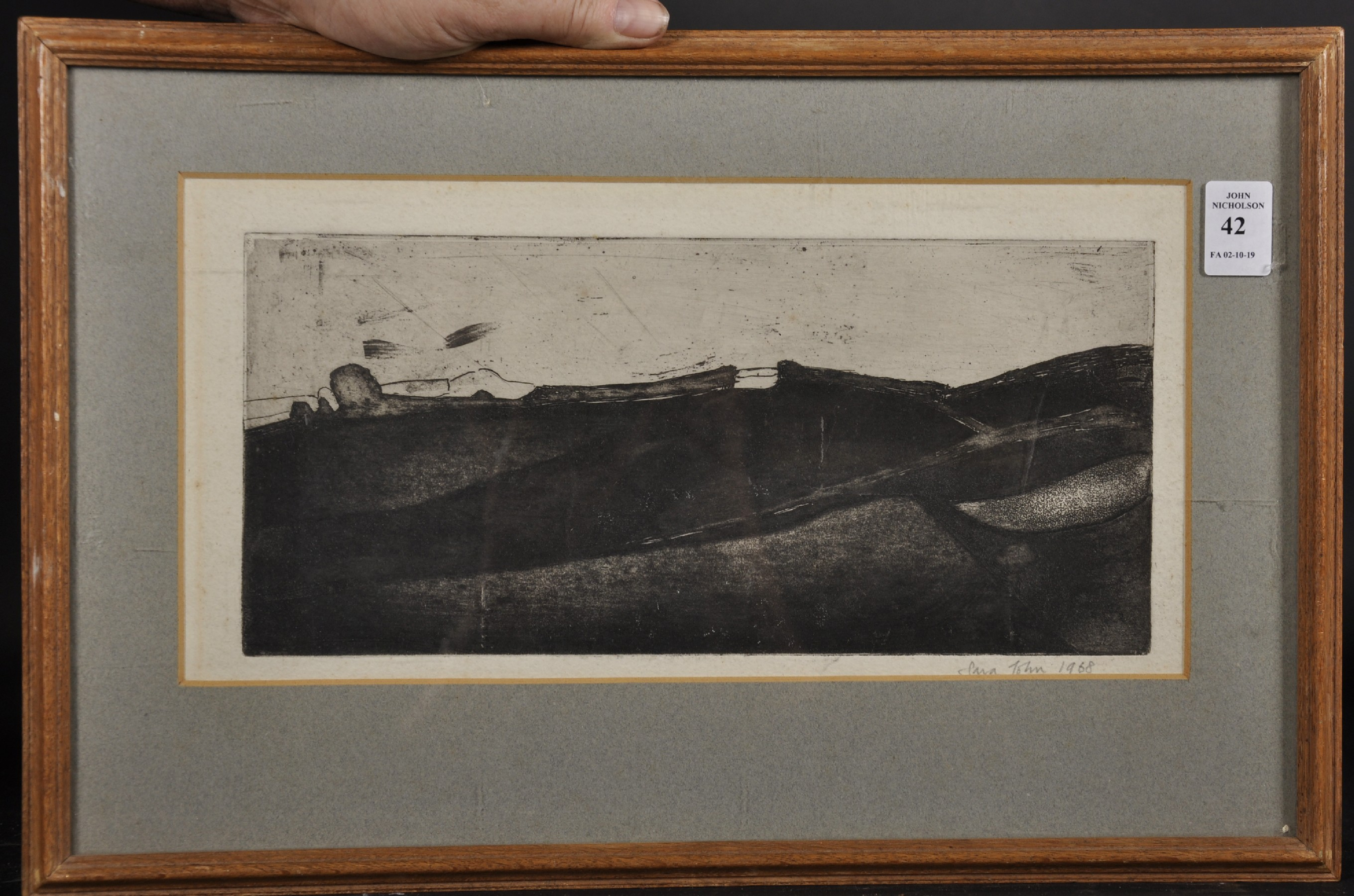"""Sara John (1946- ) British. An Abstract Landscape, Etching, Signed and Dated 1968 in Pencil, 5.5"""" - Image 2 of 4"""