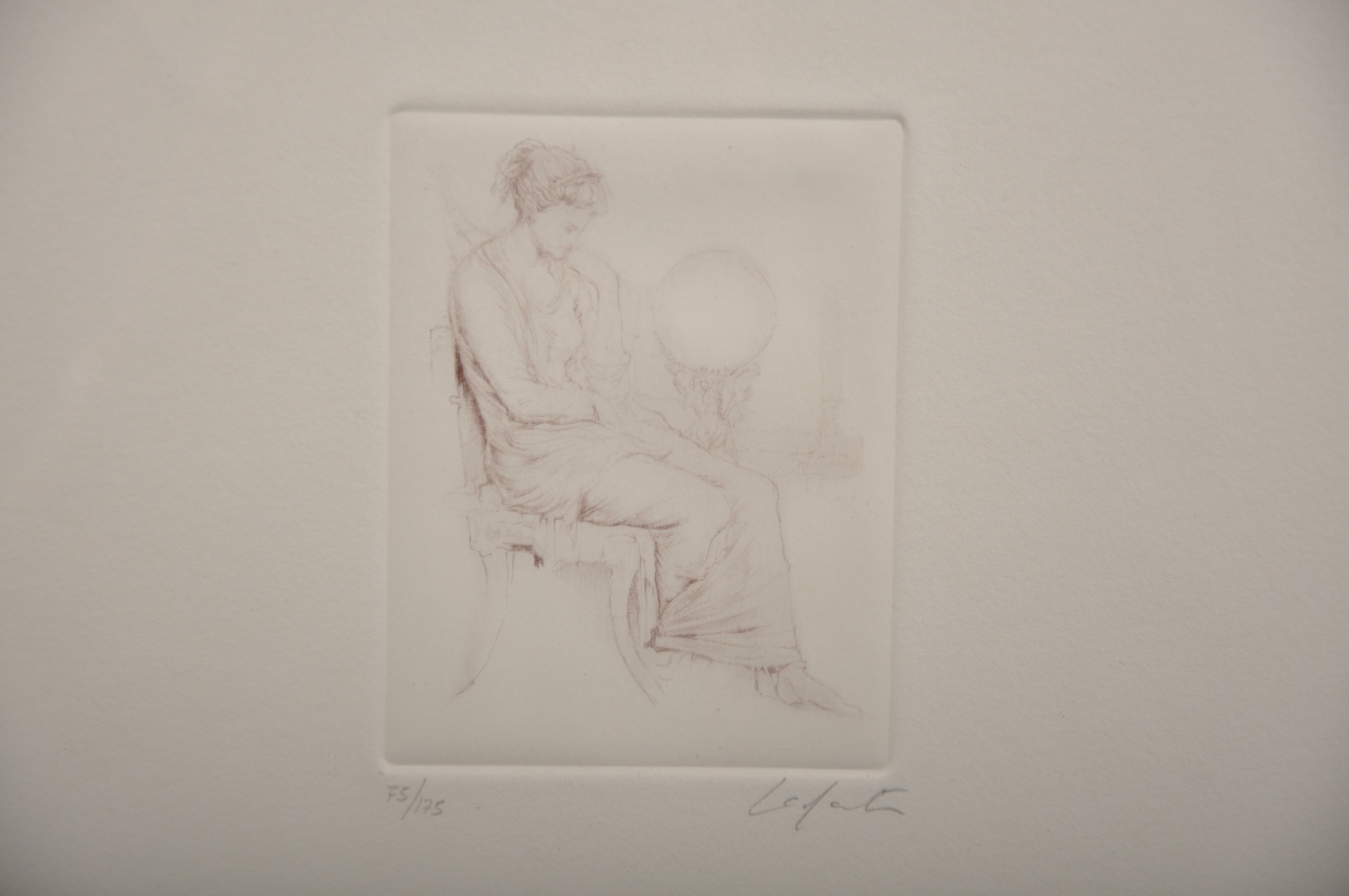 Laforte (20th Century) European. Study of a Seated Maiden, Etching, Indistinctly Signed and Numbered - Image 3 of 4
