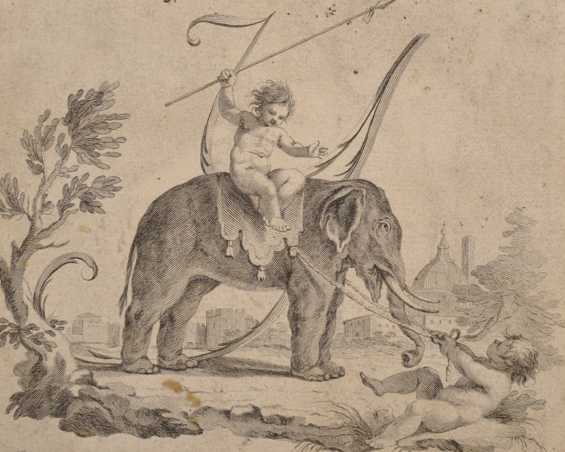 """18th Century Italian School. Cupids with an Elephant, Engraving, Unframed, 6"""" x 7.5"""", and Seven"""