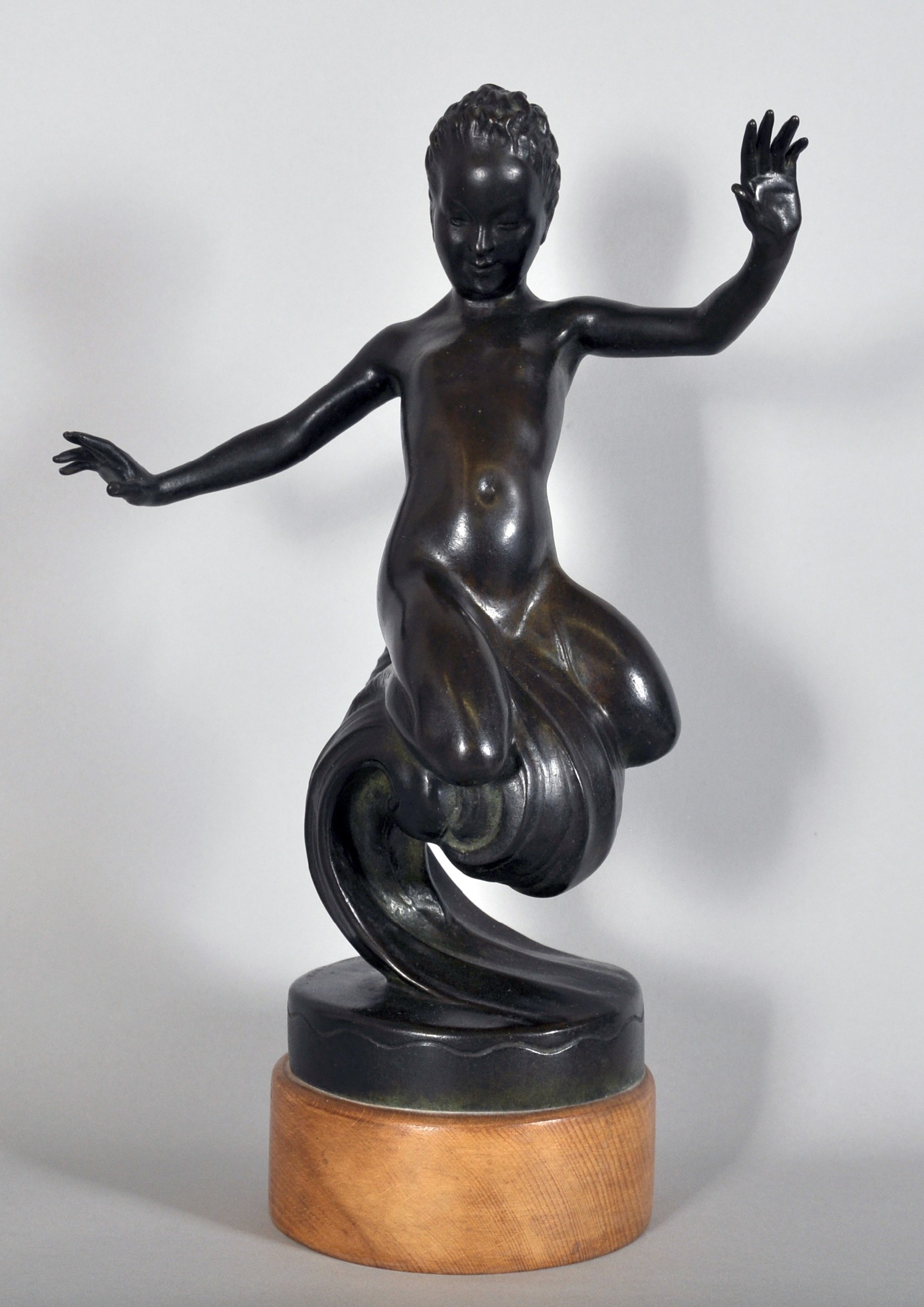 """Cecil Thomas (1885-1976) British. """"Nymph of the Wave"""", Bronze, on a Wooden Base, Incised Signature"""