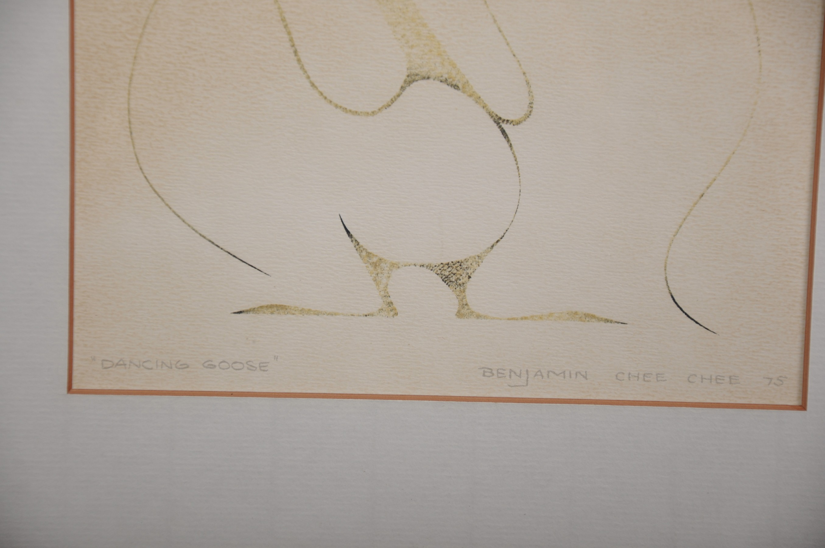 """Benjamin Chee Chee (1944-1977) Canadian. """"Dancing Goose"""", Lithograph, Signed, Inscribed and Dated ' - Image 3 of 4"""