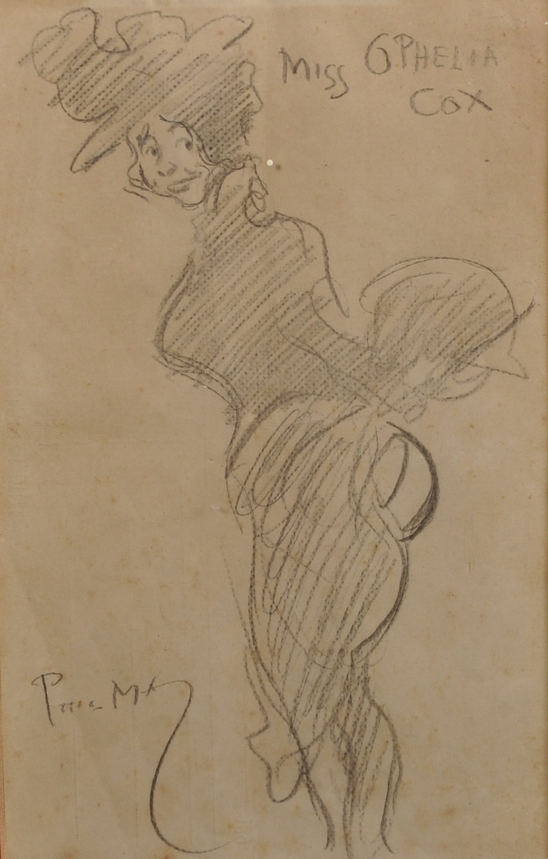 "Phil May (1864-1903) British. ""Miss Ophelia Cox"", wearing a Bustle and Hat, Pencil, Signed and"
