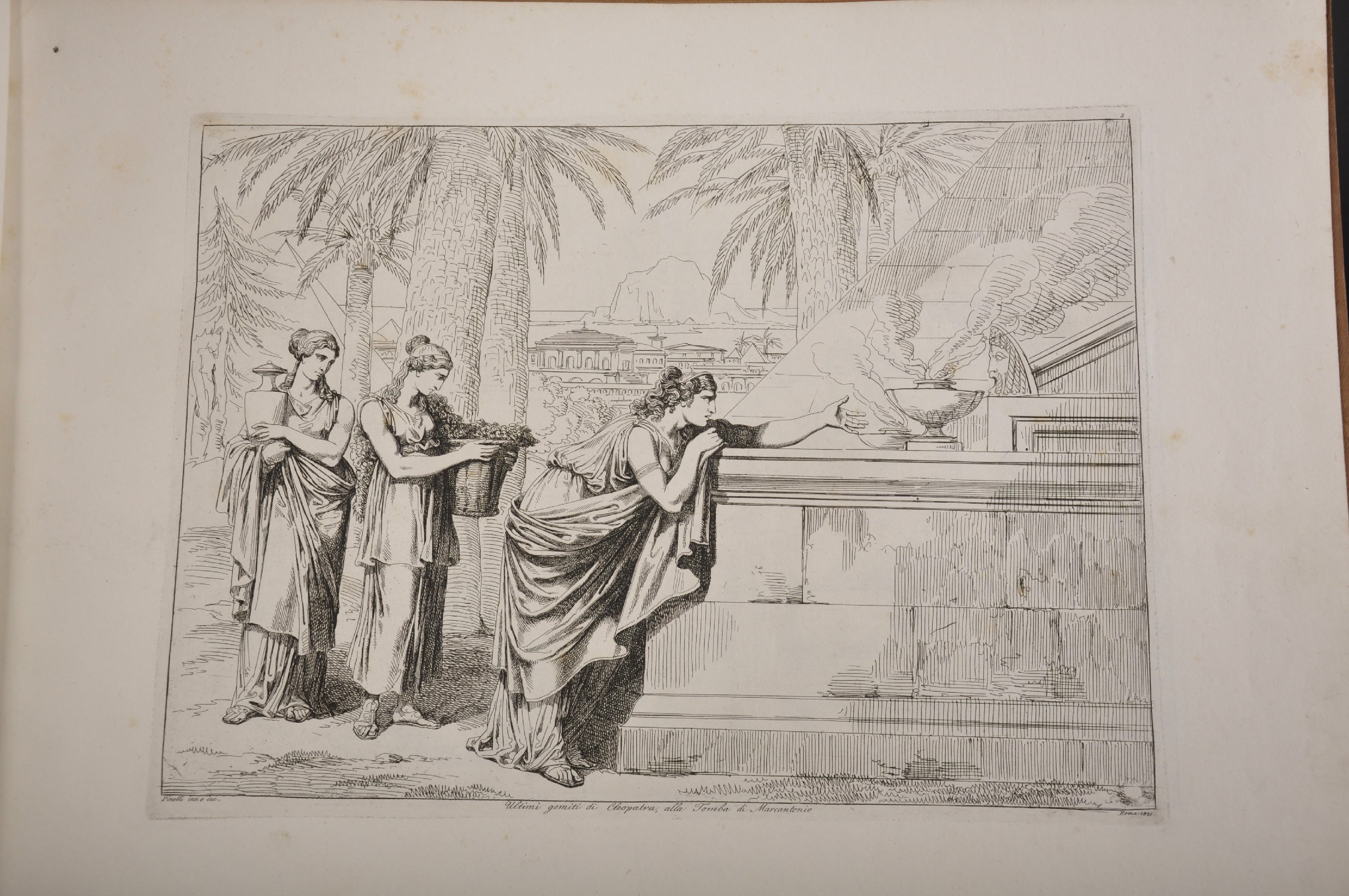 """After Bartolomeo Pinelli (1771-1835) Italian. """"Cleopatra"""", Engraving, 15"""" x 16.5"""", bound in """" - Image 4 of 8"""