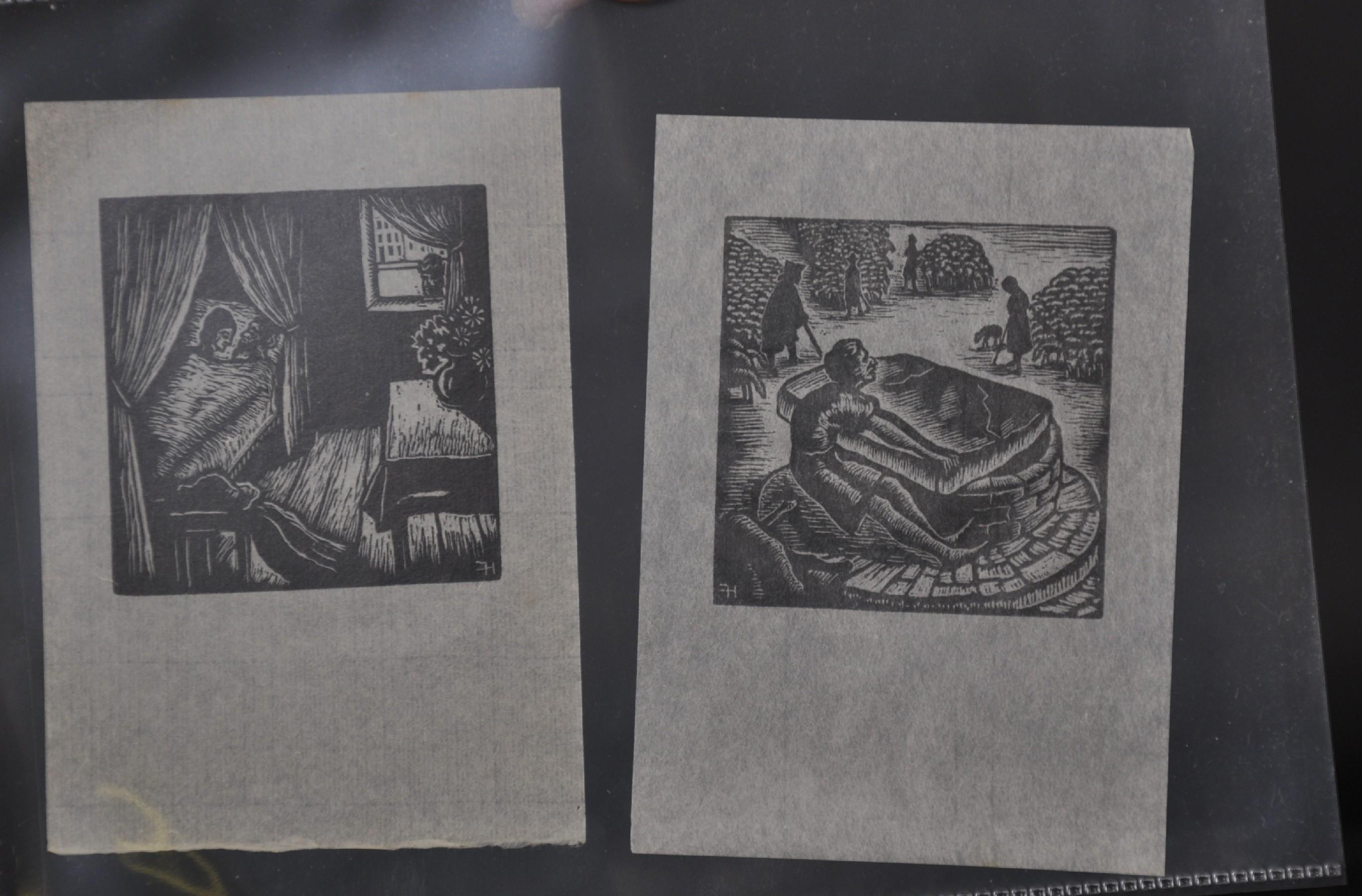 "Hermann Fechenbach (1897-1986) German. A Man and Woman Lying in Bed, Woodcut, Unframed, 2.5"" x 2.5"","