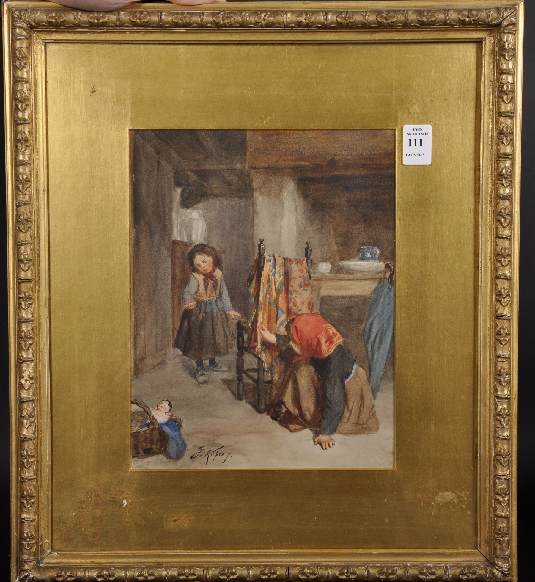 Joseph Athanase Aufray (1836-c.1885) French. Two Children Playing Hide and Seek, Watercolour, - Image 2 of 4