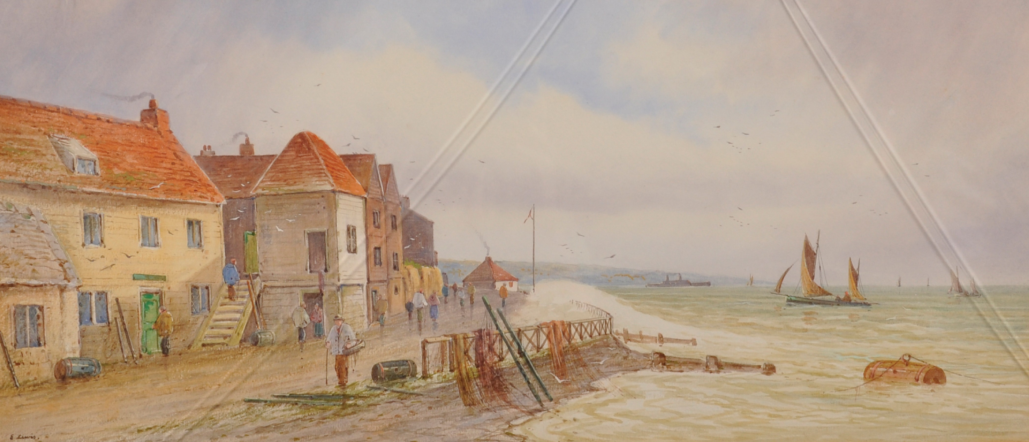 E... Lewis (19th - 20th Century) British. A Coastal Scene with Shipping, and Figures by Houses, - Image 2 of 7