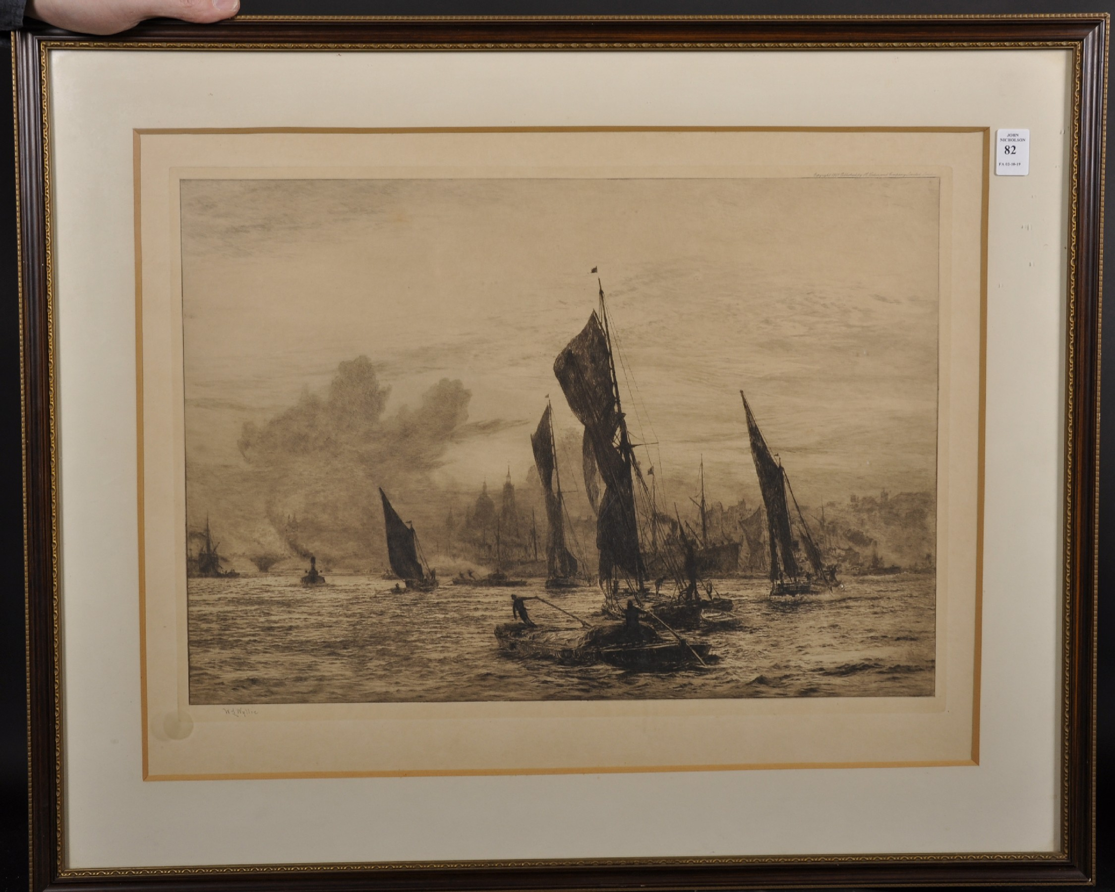 """William Lionel Wyllie (1851-1931) British. """"Barges on the Thames, London Bridge and St Paul's - Image 2 of 4"""
