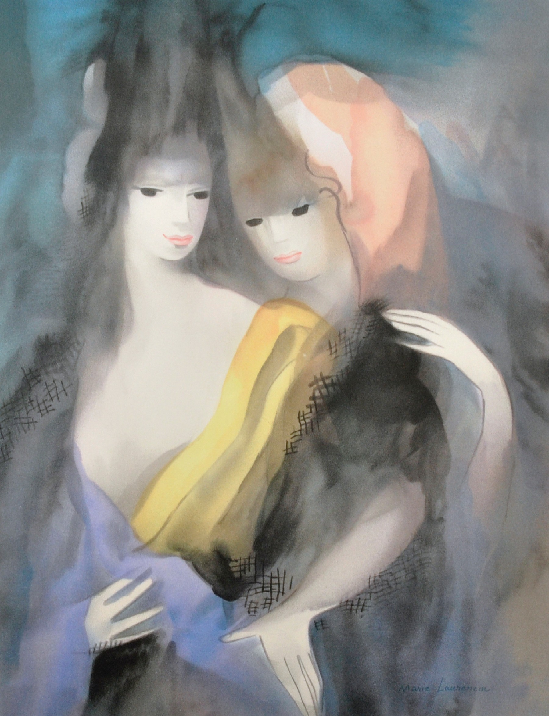 After Marie Laurencin (1883-1956) French. Study of Two Ladies, Lithograph with Printer's Stamp,