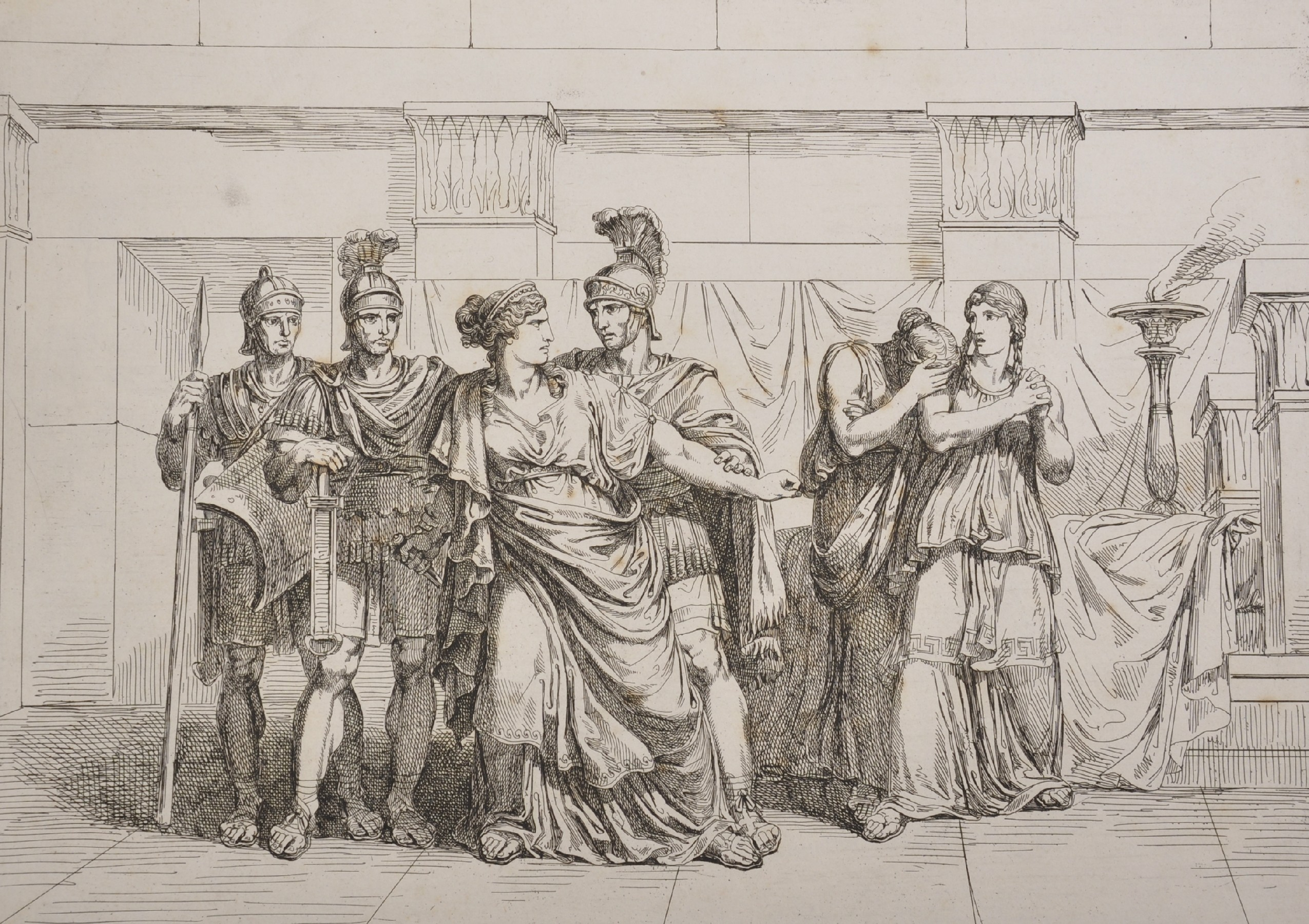 """After Bartolomeo Pinelli (1771-1835) Italian. """"Cleopatra"""", Engraving, 15"""" x 16.5"""", bound in """""""