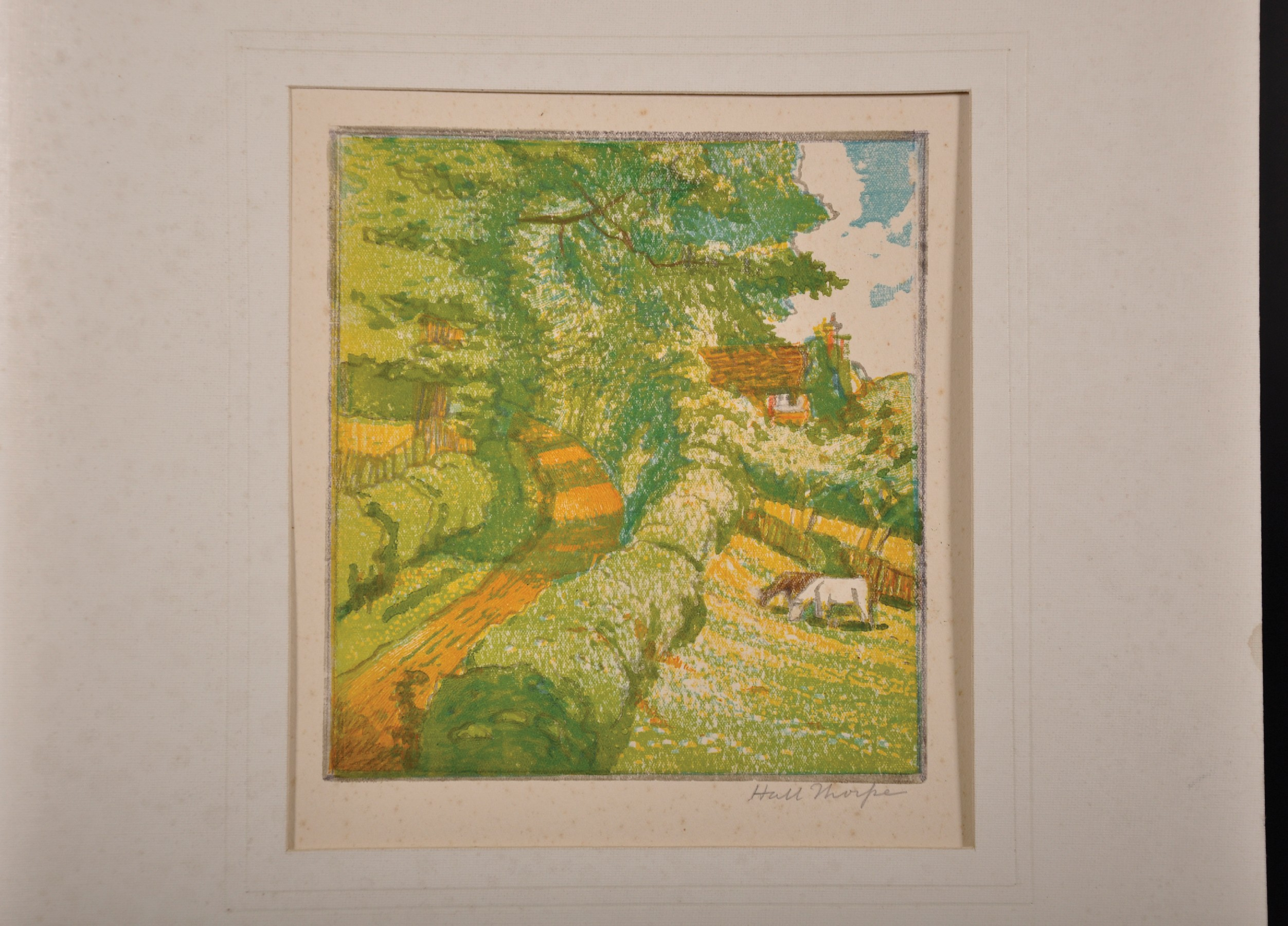 John Hall Thorpe (1874-1947) British. Cows in a Meadow by a Village Road, Woodcut in Colours, Signed - Image 2 of 3