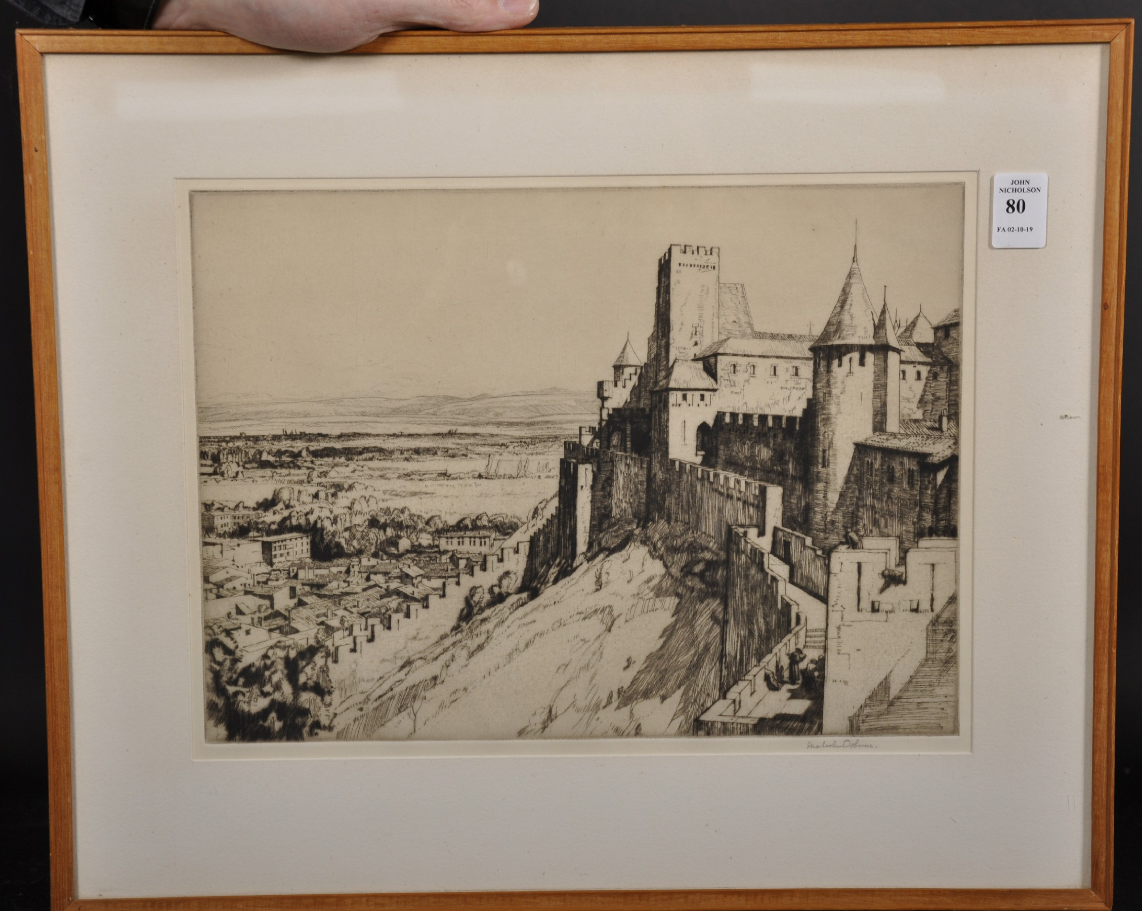 """Malcolm Osborne (1880-1963) British. 'The Fortress Carcassonne"""", Etching, Signed in Pencil, 9.25"""" - Image 2 of 4"""