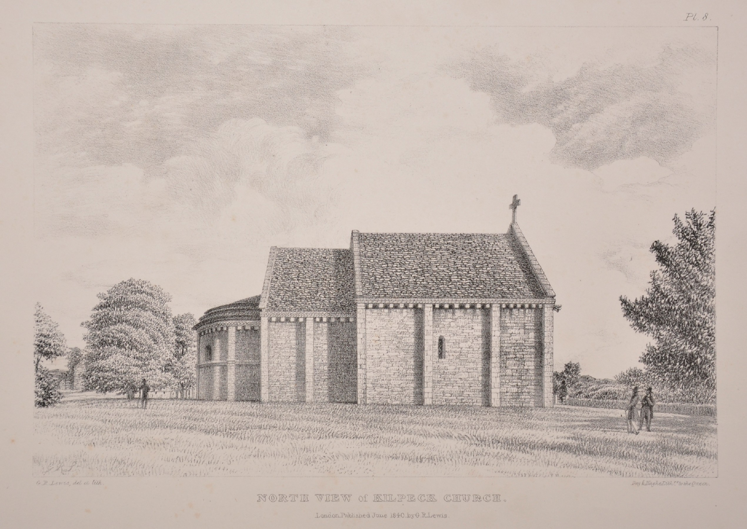 "George Robert Lewis (1782-1871) British. ""North View of Kilpeck Church"", Lithograph, Unframed, 6."