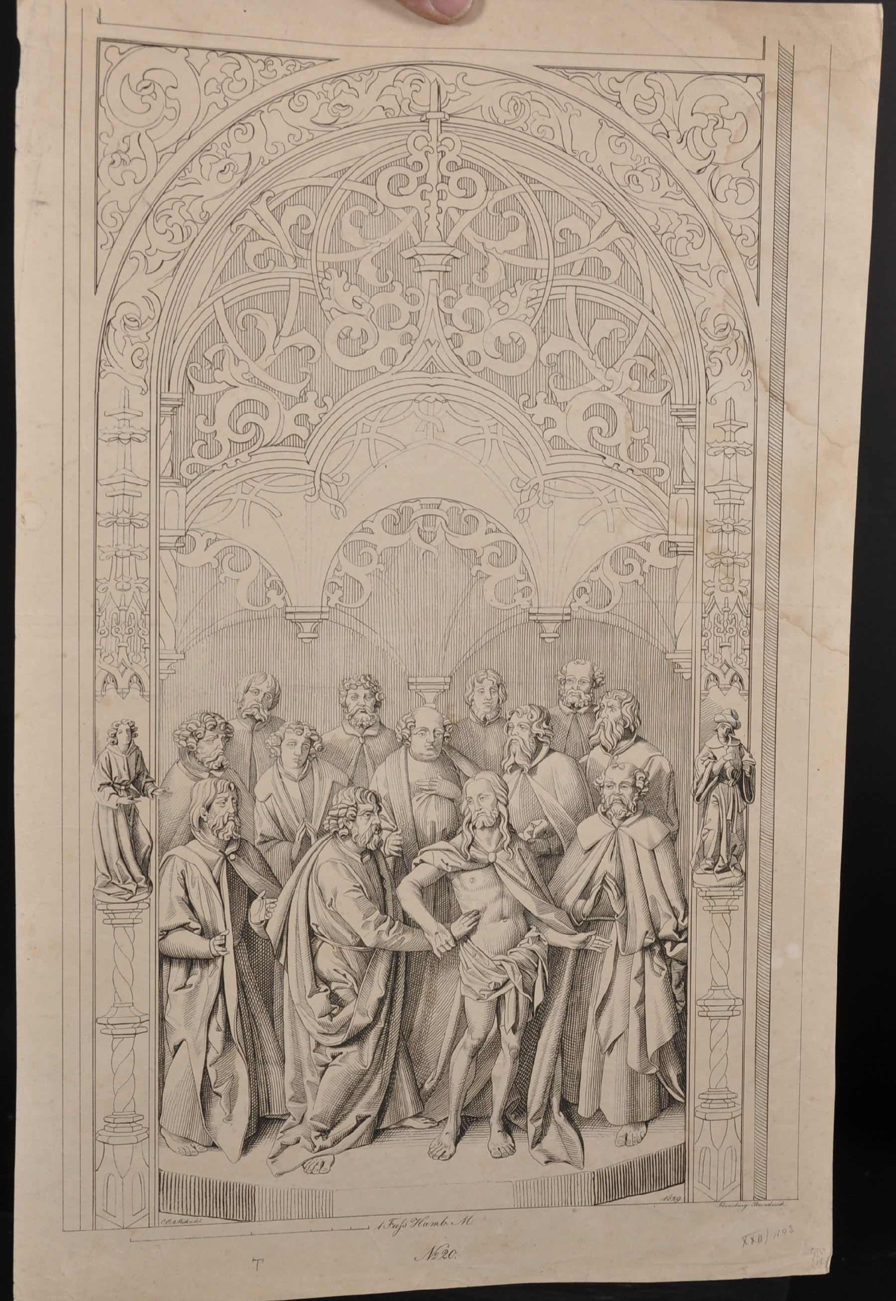 After Conrad Christian A... Boehndel (1779-1847) Danish. Design for an Altarpiece, Engraving, - Image 2 of 4