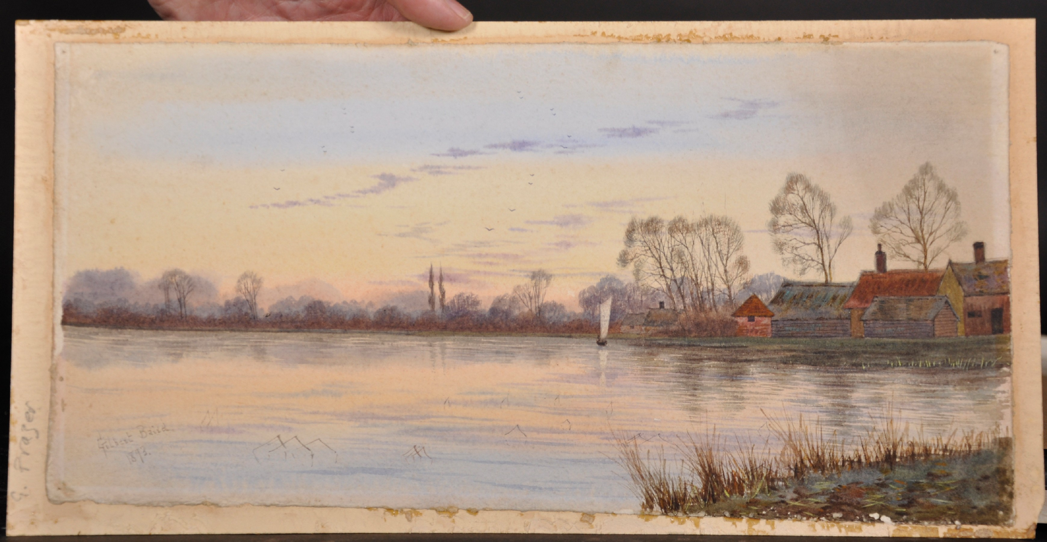 Gilbert Baird Fraser (1866-1947) British. A River Landscape, with a Sailing Boat, and Cottages in - Image 2 of 4