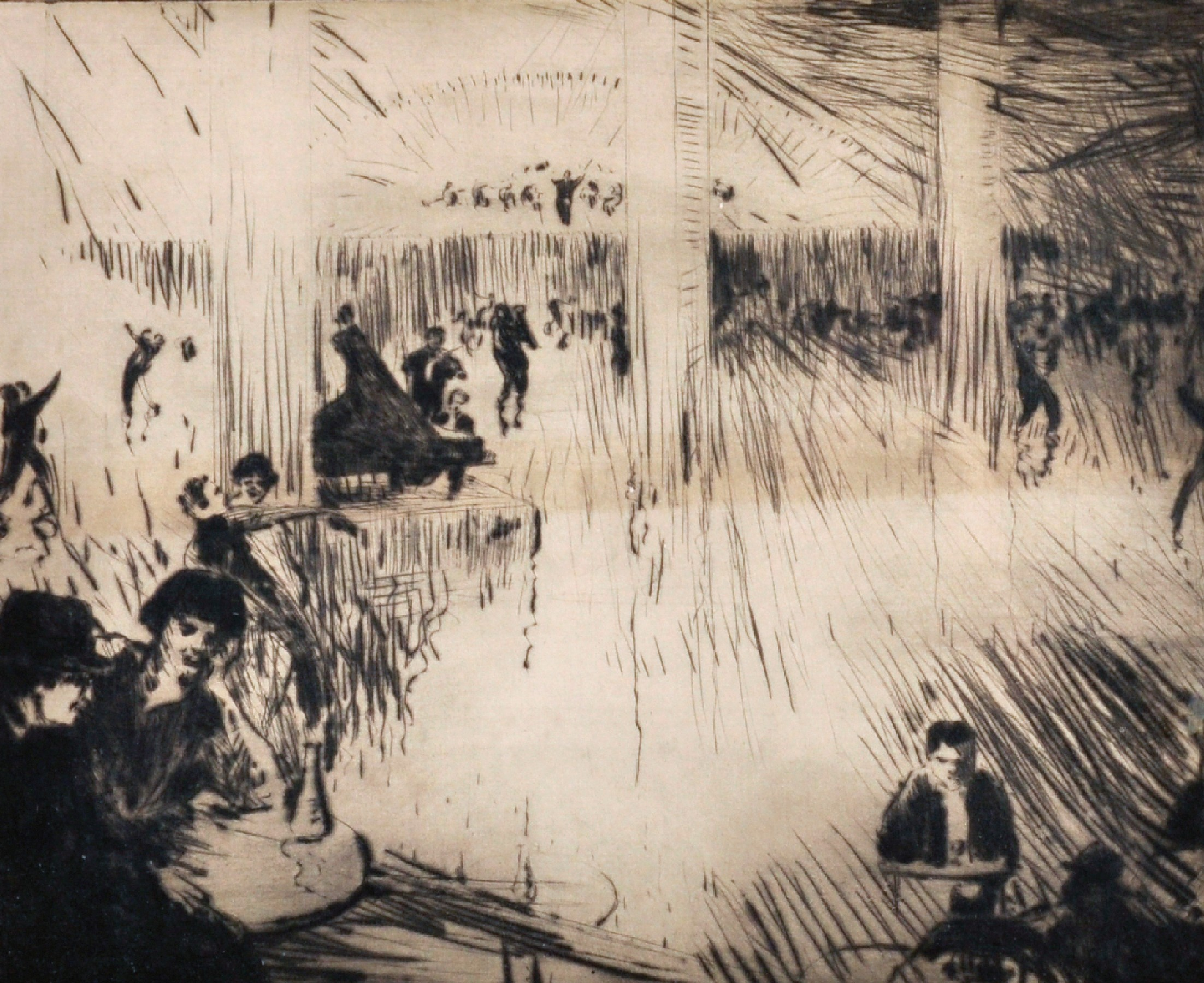 """John Rankine Barclay (1884-1962) British. """"Paris Dance Hall"""", Drypoint Etching, Signed and Inscribed"""