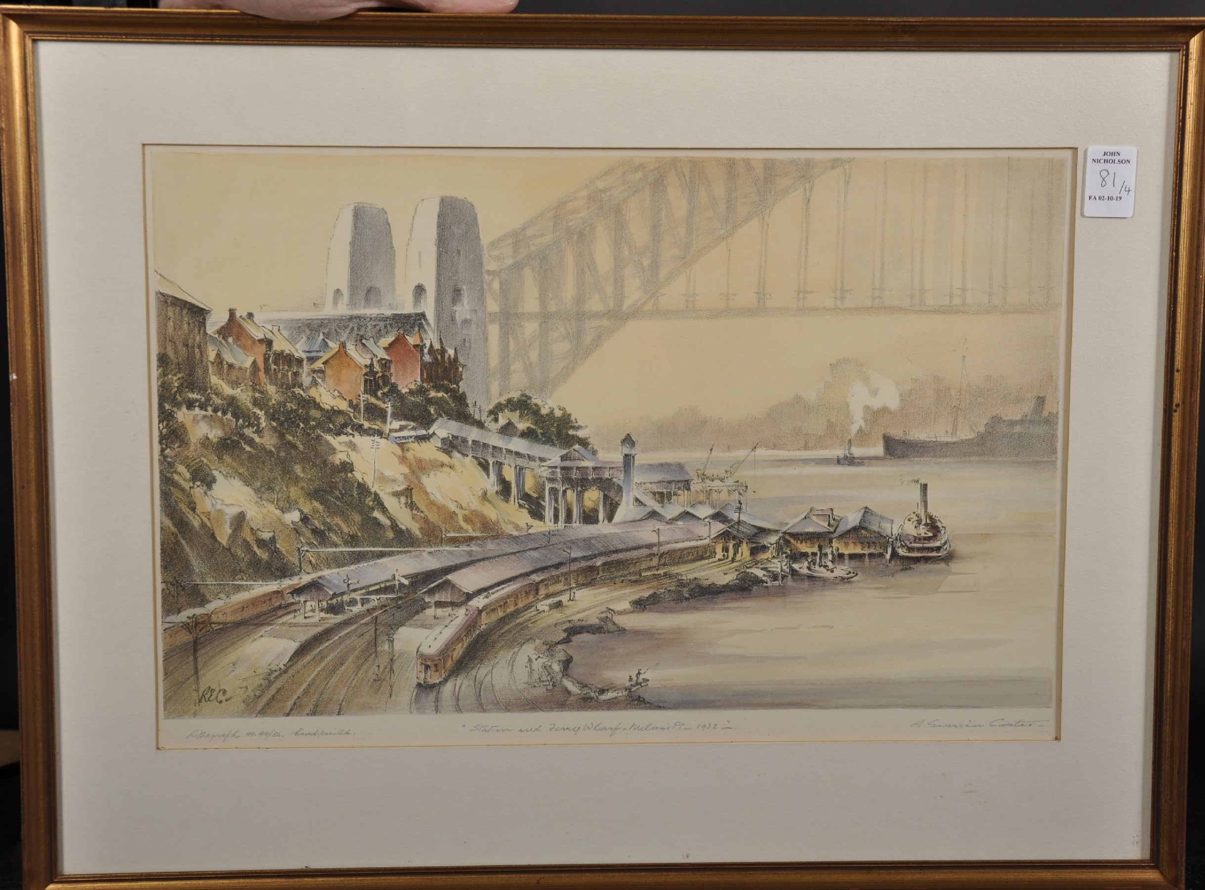 "Robert Emerson Curtis (1898-1996) British/Australian. ""The Bridge from Woolloomooloo"", with Sydney - Image 4 of 12"