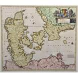 "After Johann Baptista Homann (1664-1724) German. ""Regni Daniae"", Print, 17.5"" x 20.25""."