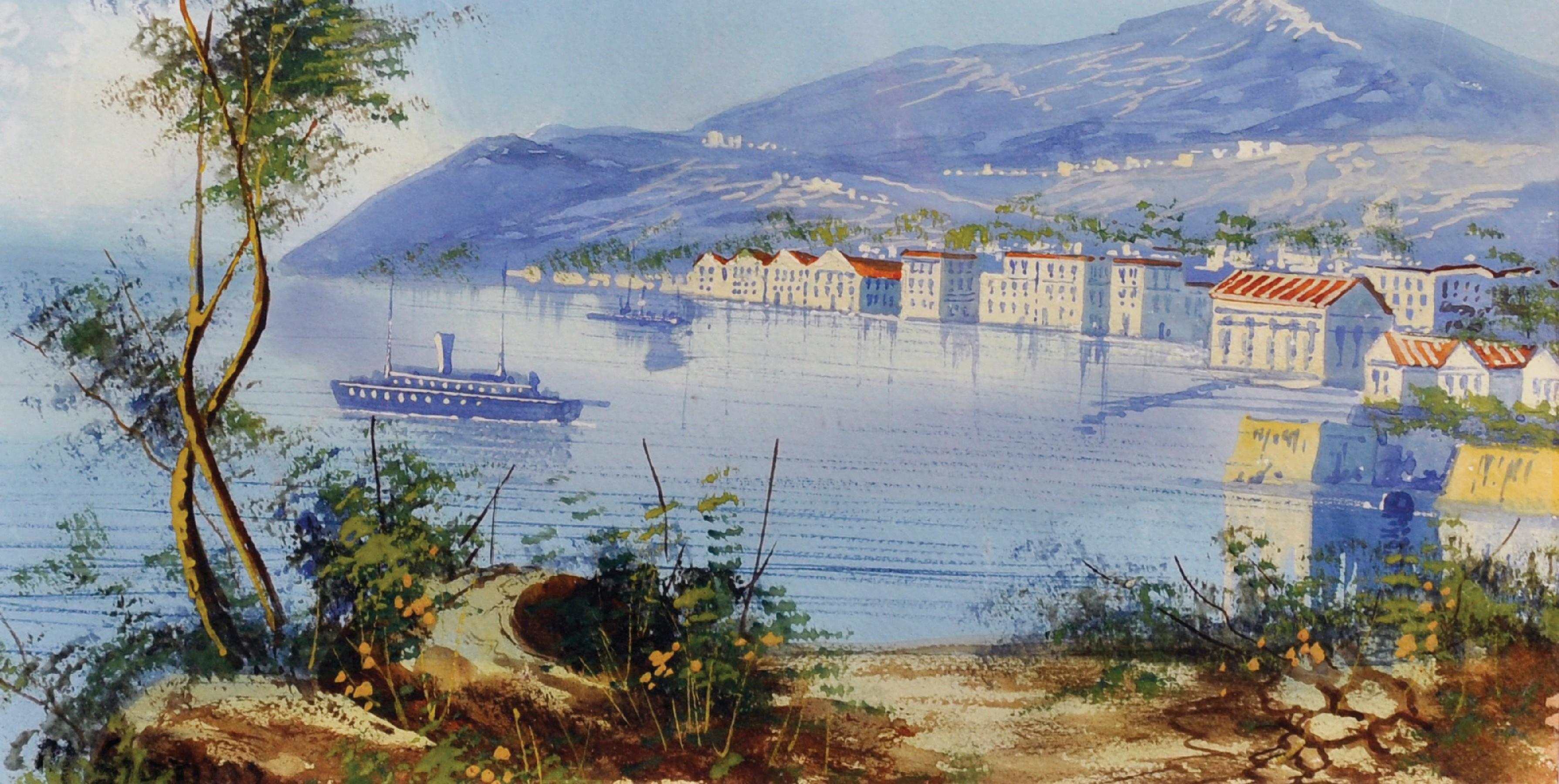 """Maria Gianni (1873-1956) Italian. A Coastal Scene, Watercolour, Signed, 6.25"""" x 12.25""""."""
