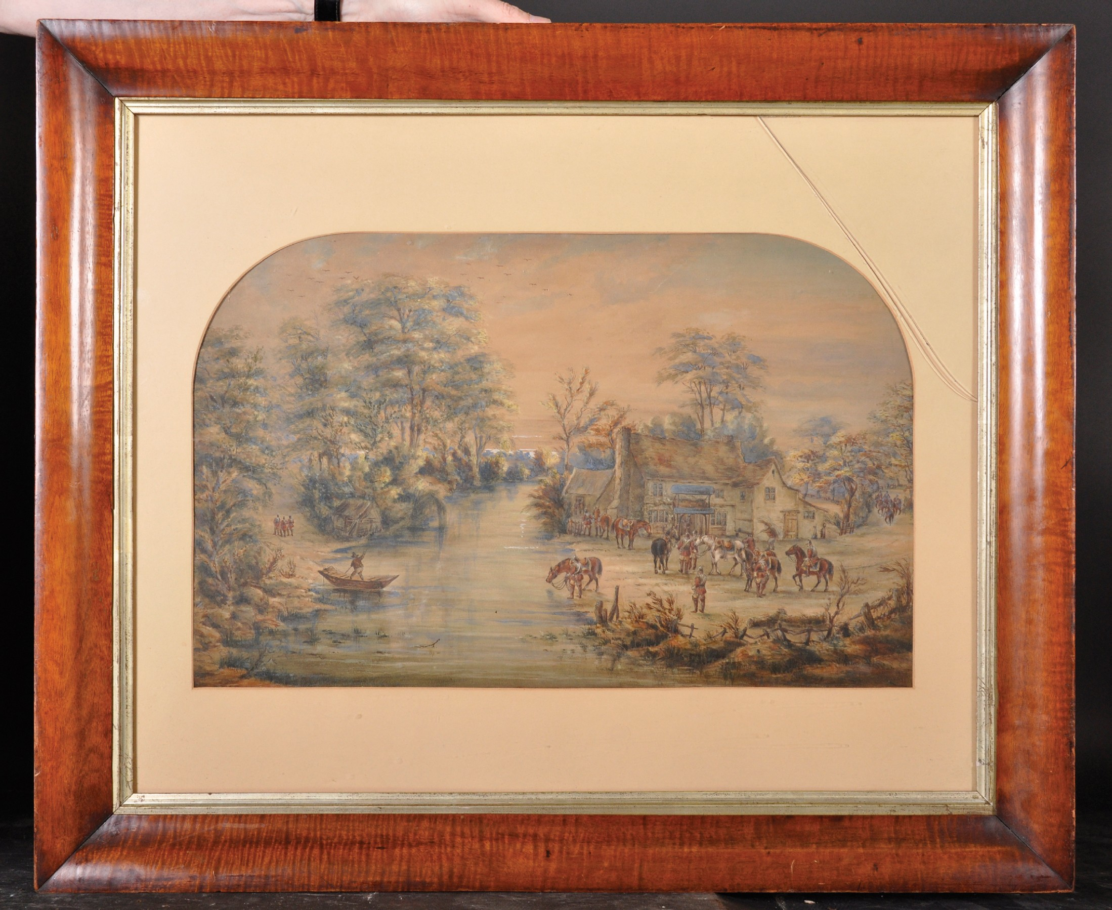 19th Century Continental School. A Riverside Inn with Soldiers at Rest, Watercolour, Arched, in a - Image 2 of 4