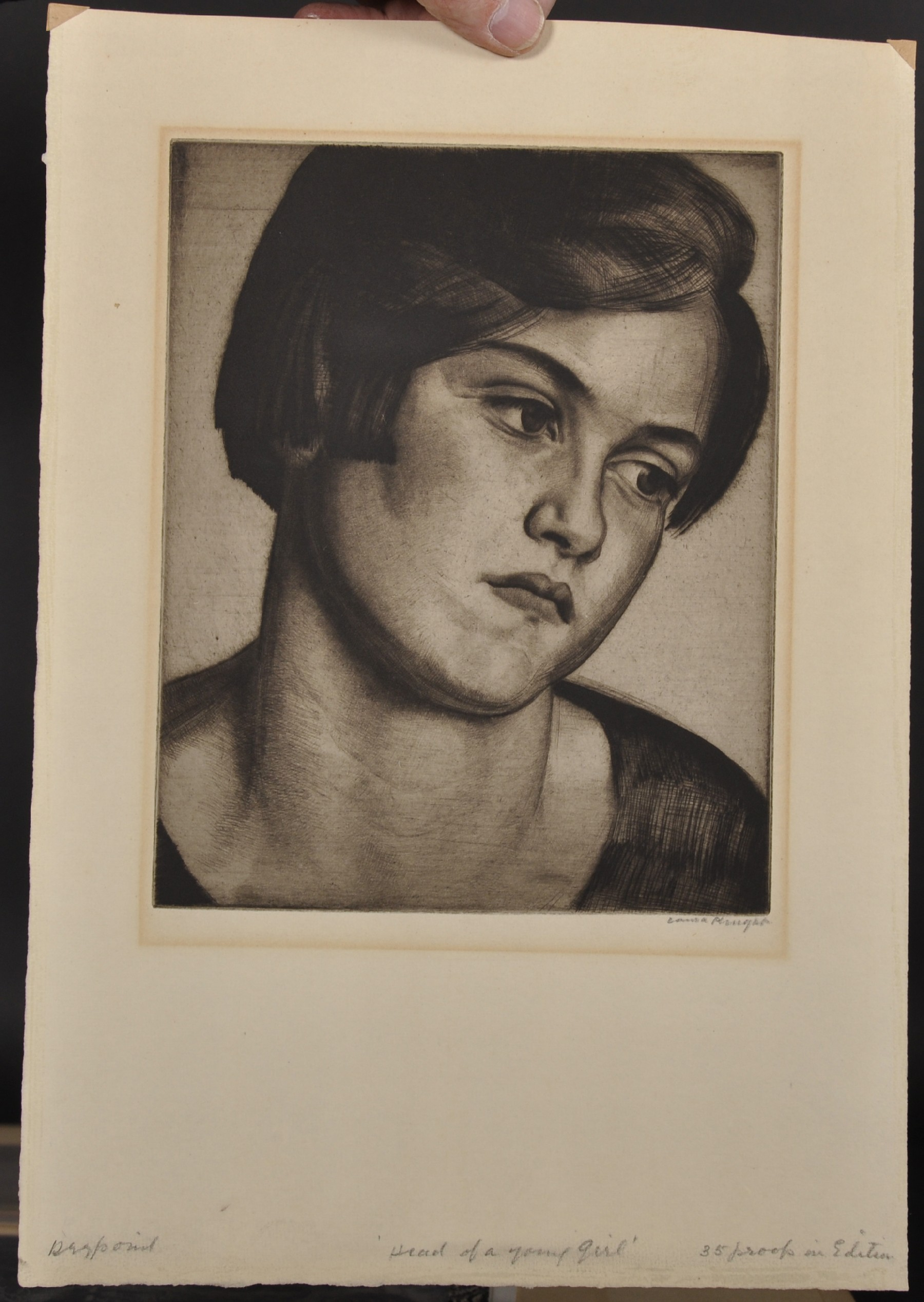 """Laura Knight (1877-1970) British. """"Head of a Young Girl"""", Drypoint Etching, Signed and Inscribed '35 - Image 2 of 5"""