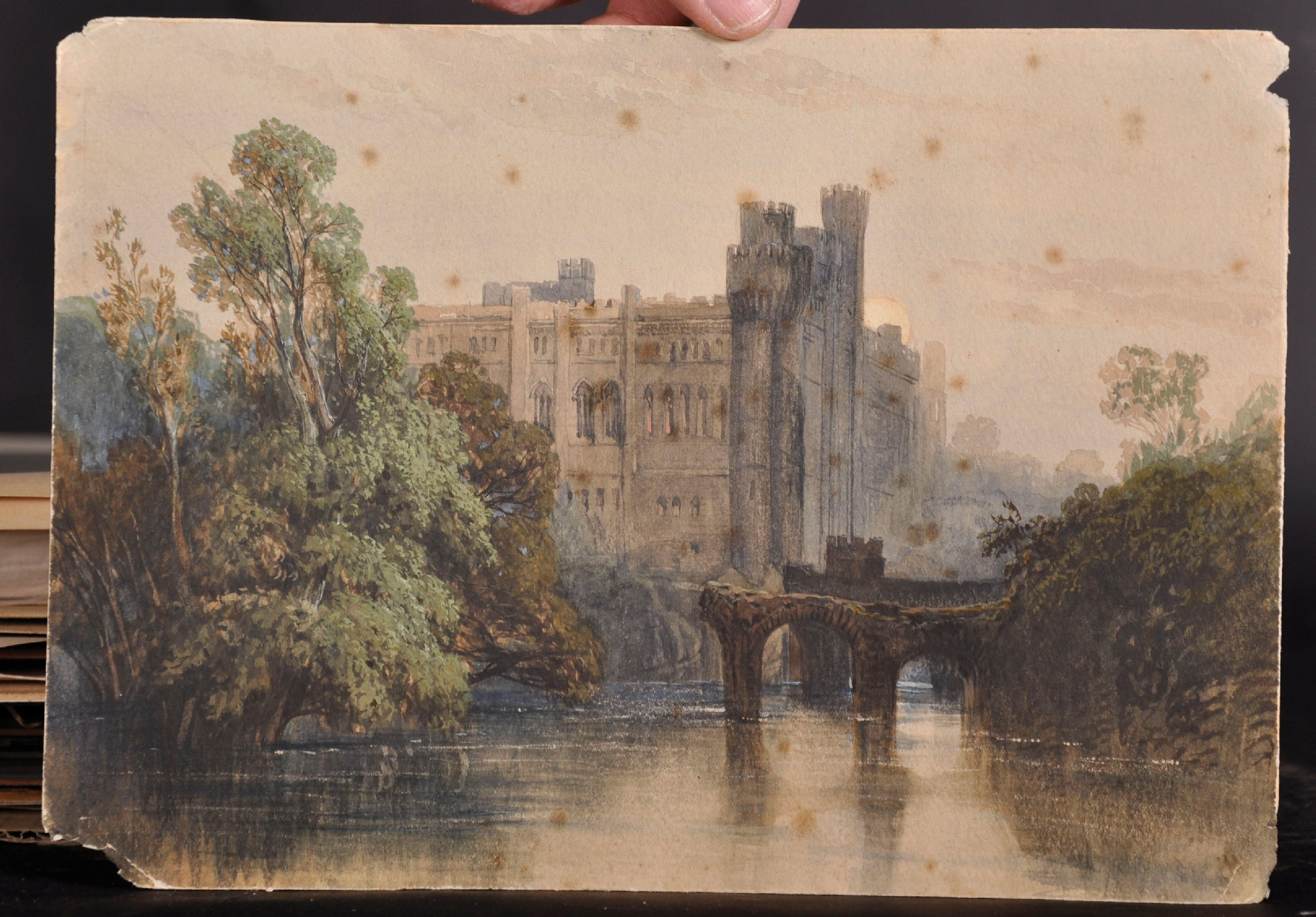 "Circle of George Clarkson Stanfield (1828-1878) British. ""Warwick Castle"", Watercolour, Inscribed on - Image 2 of 3"