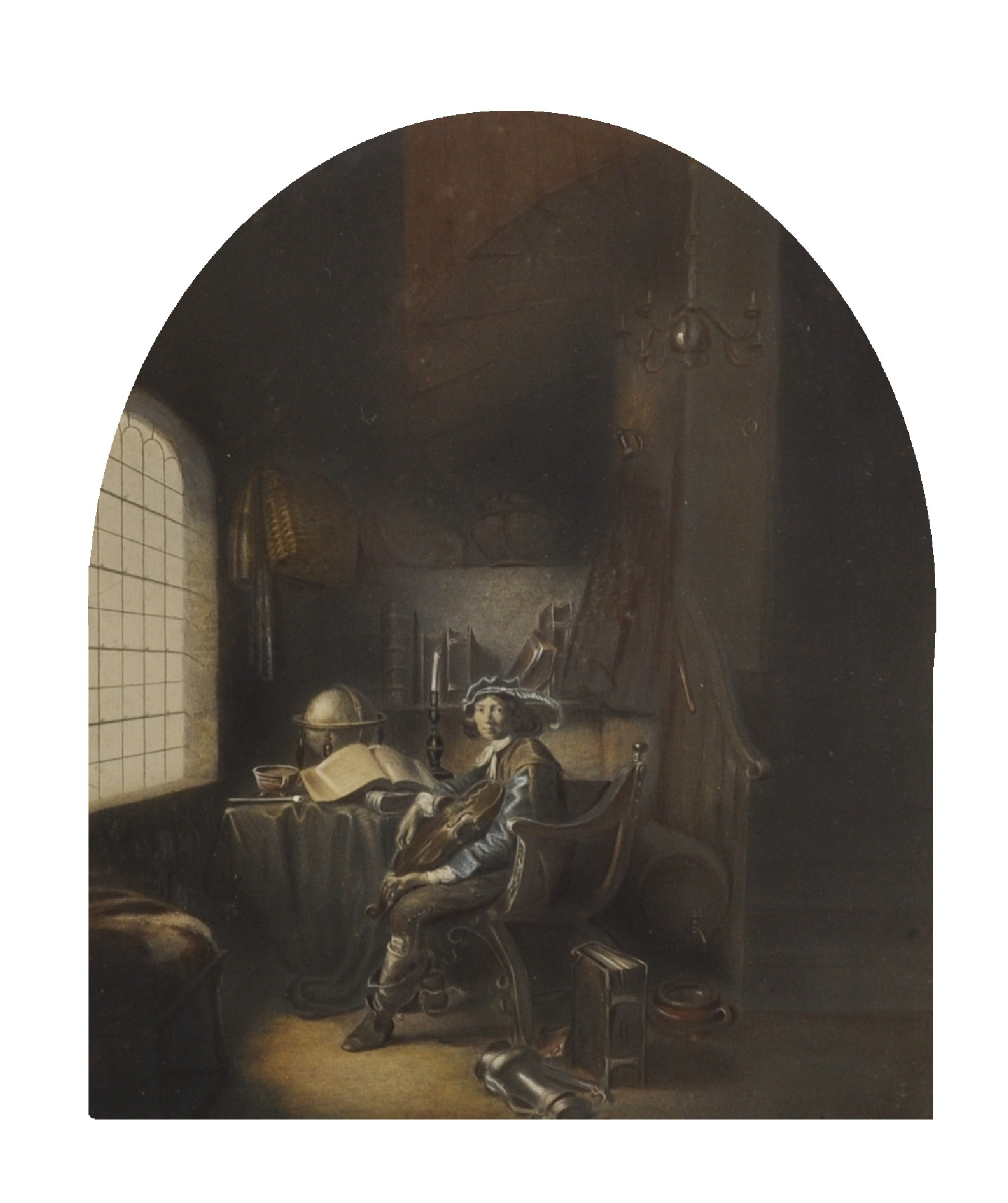 "After Gerrit Dou (1613-1675) Dutch. ""The Young Violinist"", Print, Arched, 11.5"" x 9""."