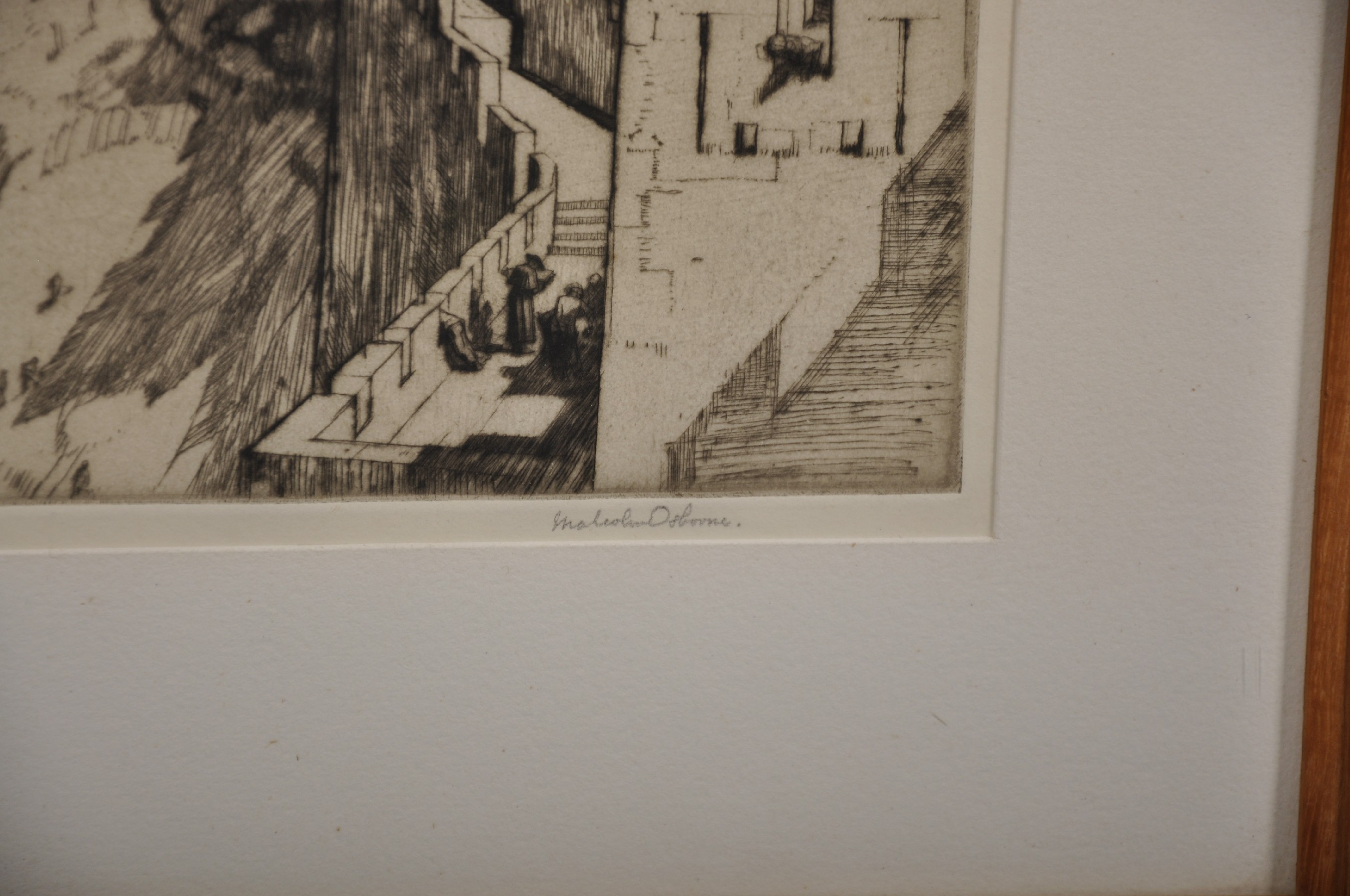 """Malcolm Osborne (1880-1963) British. 'The Fortress Carcassonne"""", Etching, Signed in Pencil, 9.25"""" - Image 3 of 4"""