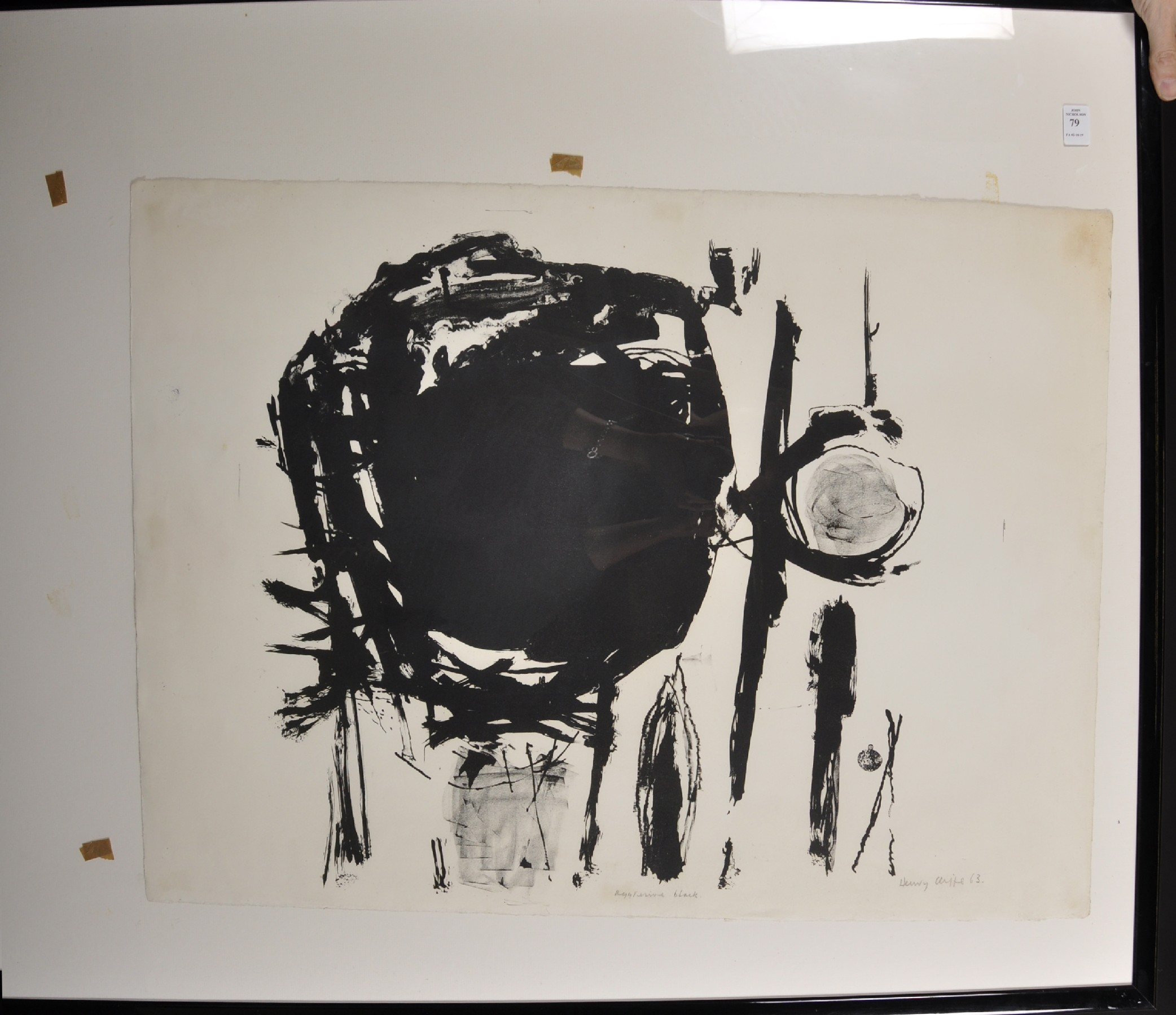 """Henry Cliffe (1919-1983) British. """"Aggresive [sic] Black"""", Lithograph, Signed, Inscribed and - Image 2 of 4"""