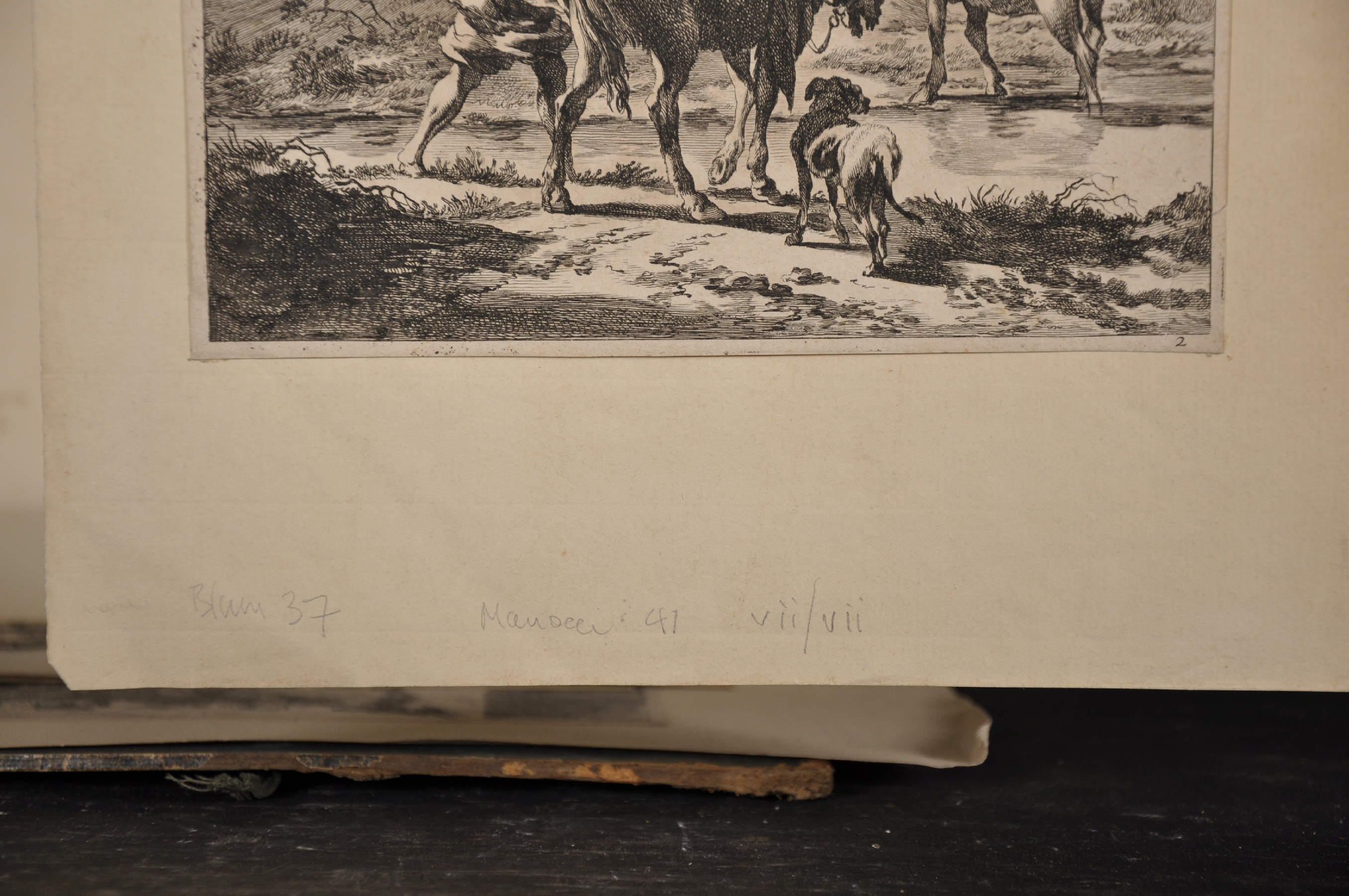 """After Nicholas Berghem (1620-1683) Dutch. Figures on a Path, Engraving, Unframed, 10.25"""" x 8"""", - Image 3 of 5"""