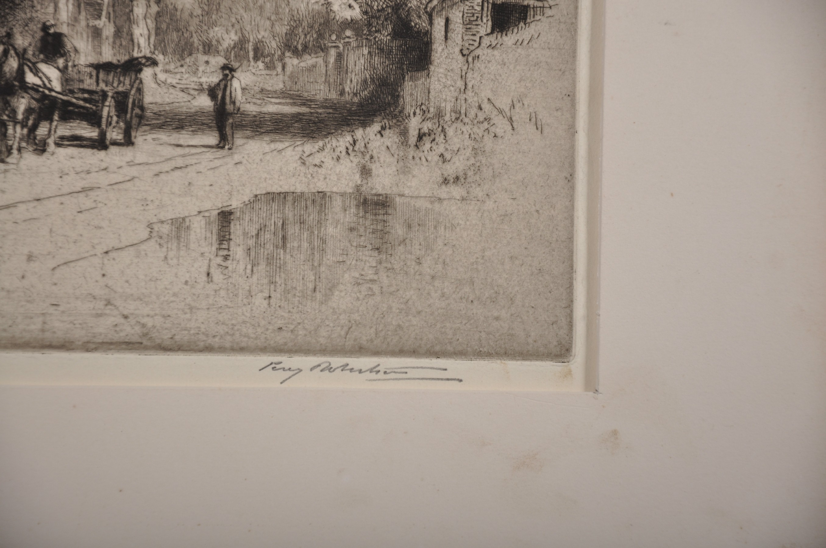 Percy Robinson (20th Century) British. A Village Lane with a Horse and Cart, Etching, Signed in - Image 3 of 4
