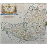"Robert Morden (c.1650-1703) British. ""Somerset Shire"", Map, 14.25"" x 16.5"". Provenance: Gordon"