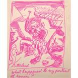 "Attributed to Graham Vivian Sutherland (1903-1980) British. ""What happened to my portrait of"