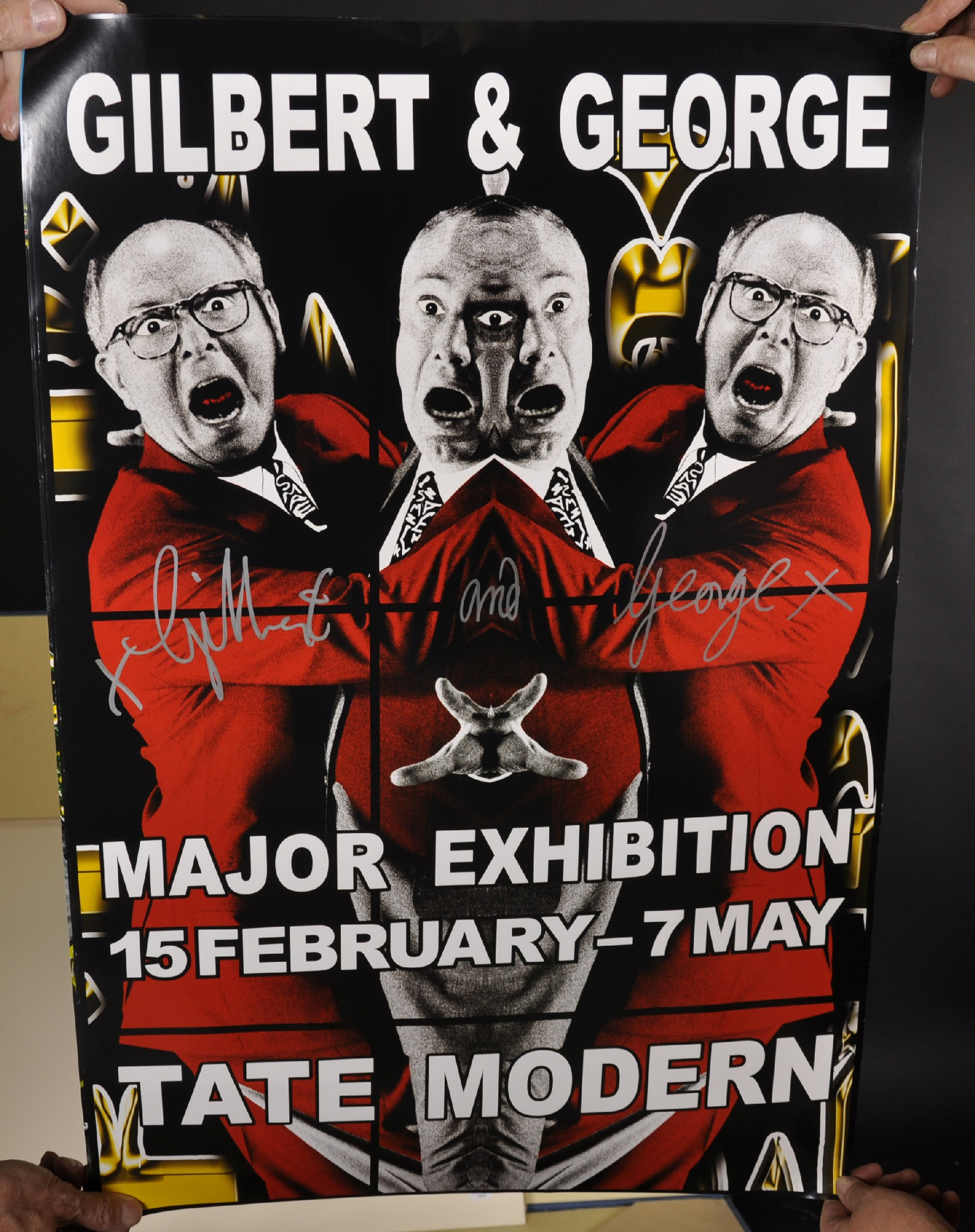 "Gilbert and George (20th - 21st Century) British. ""Major Exhibition Tate Modern"", Poster, Signed - Image 3 of 6"