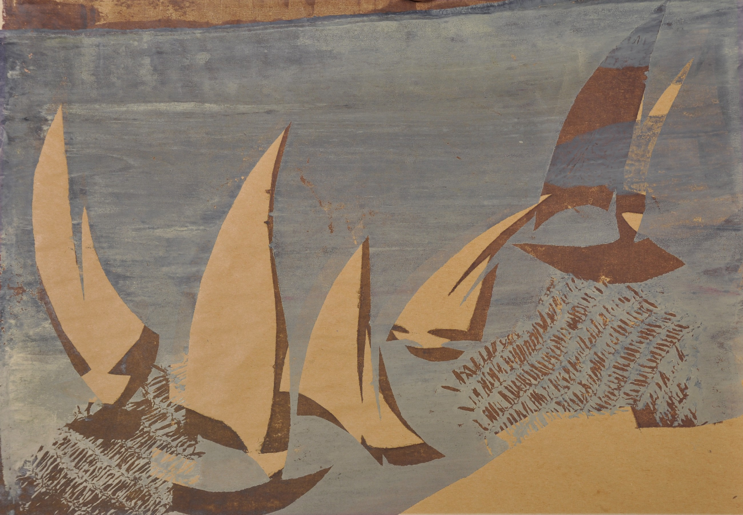 """Early 20th Century European School. Sailing Boats, Woodblock, Unframed, 12"""" x 16.75"""", and another by"""