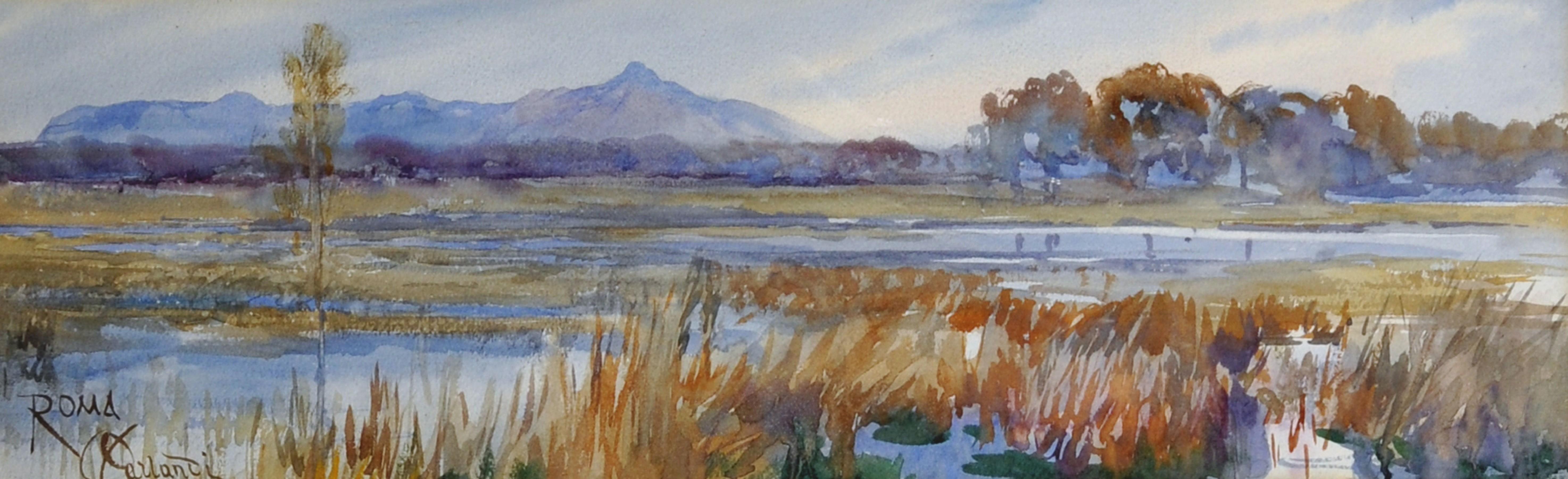 Onorato Carlandi (1848-1939) Italian. A River Landscape, Watercolour, Signed and Inscribed 'Roma',