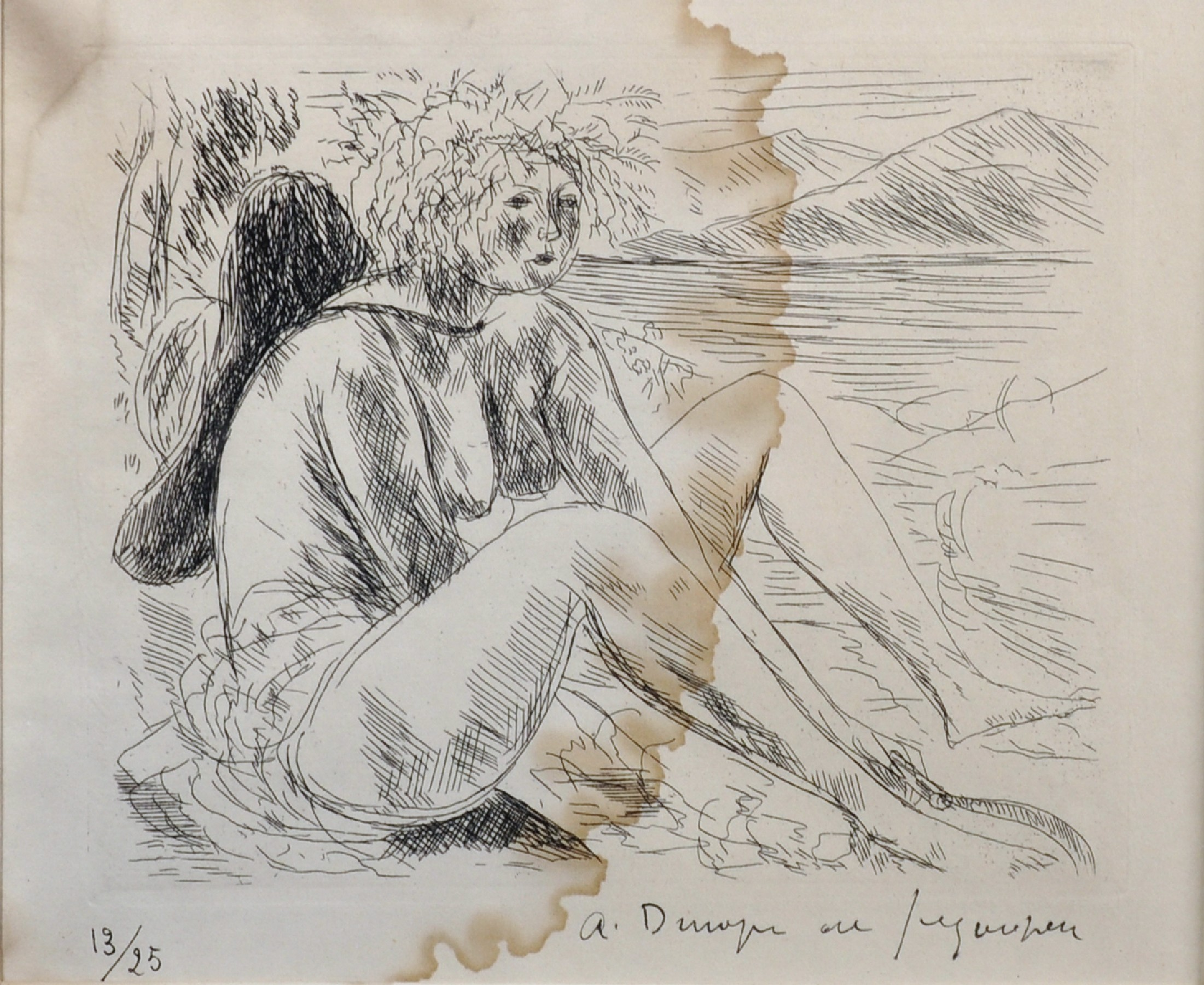 Andre Dunoyer de Segonzac (1884-1974) French. Study of a Lady, Seated by a Lake, Etching, Signed and