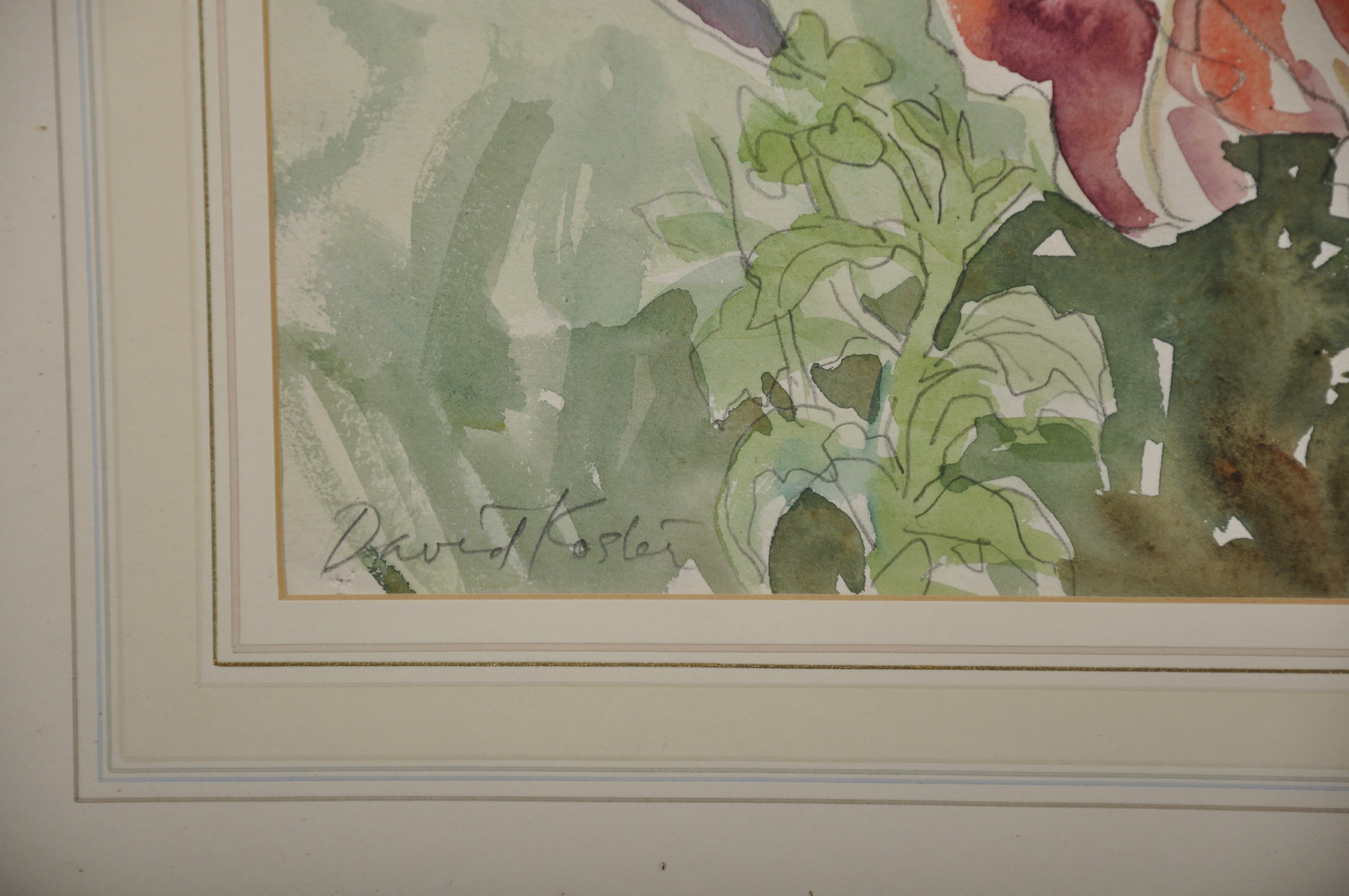 David Koster (1926- ) British. Still Life of Flowers in a Garden, with a Minaret in the distance, - Image 3 of 4