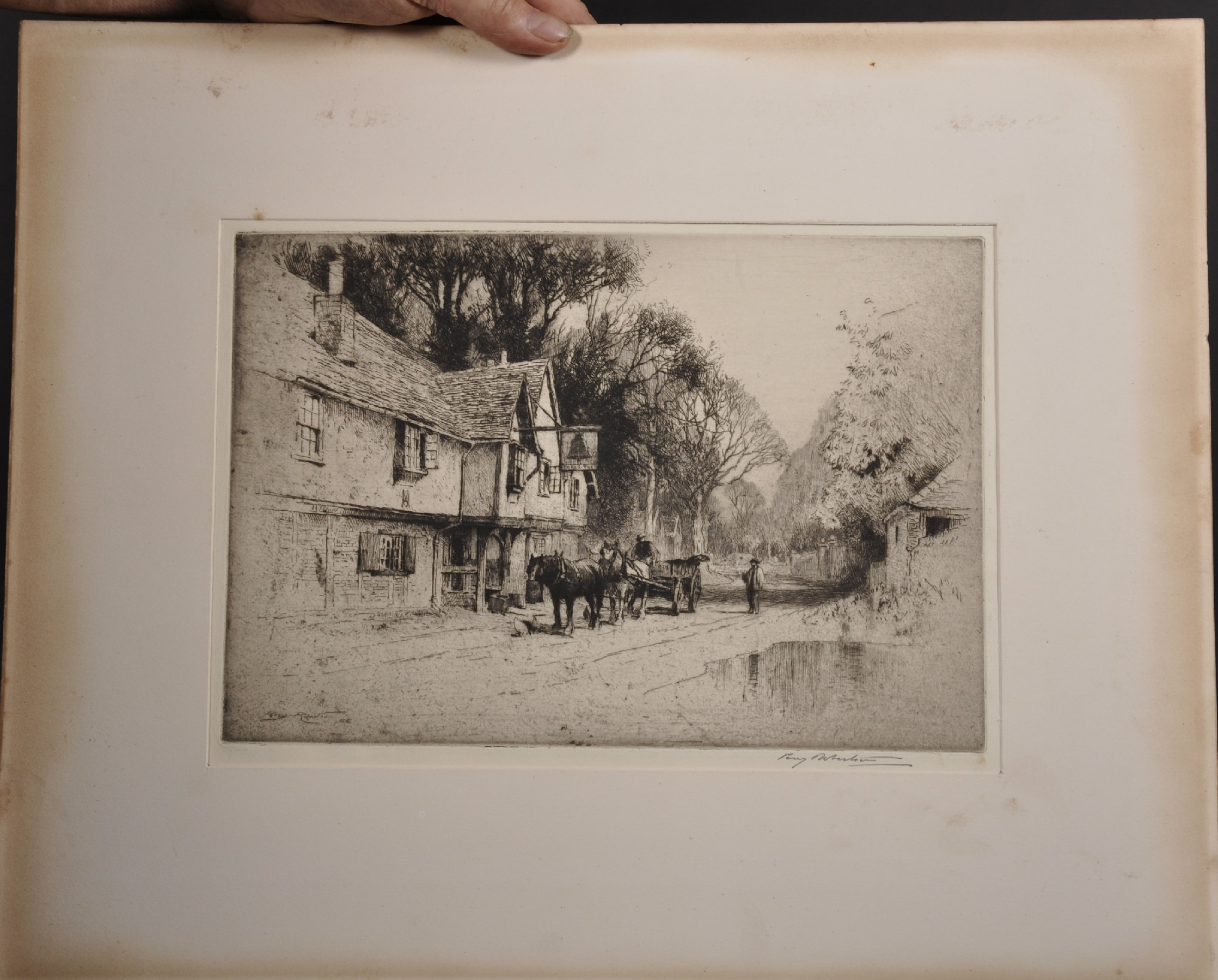 Percy Robinson (20th Century) British. A Village Lane with a Horse and Cart, Etching, Signed in - Image 2 of 4