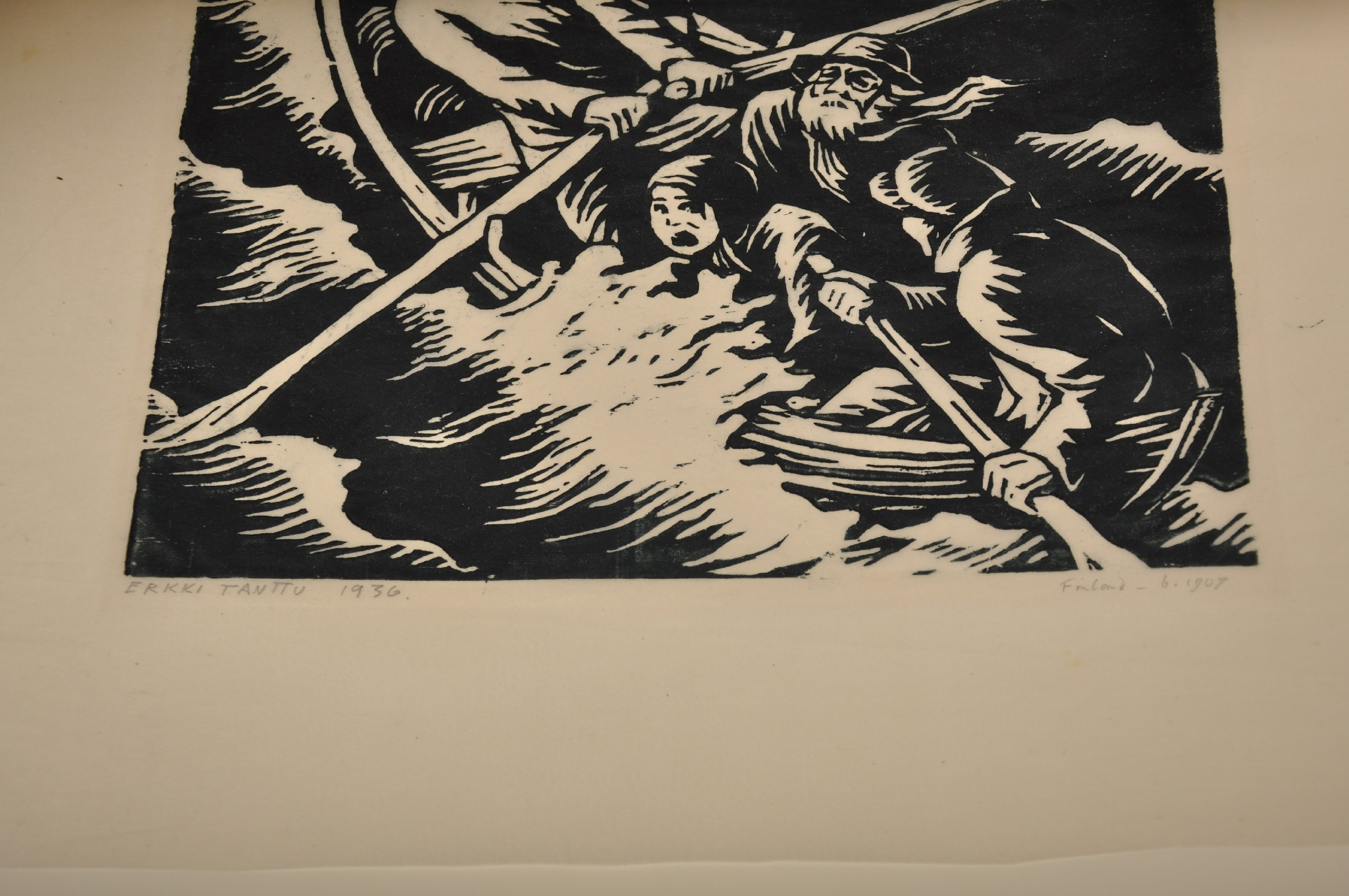 Erkki Tanttu (1907-1985) Finnish. Figures in a Rowing Boat, in Storm Sea, Woodcut, Signed, Inscribed - Image 3 of 3