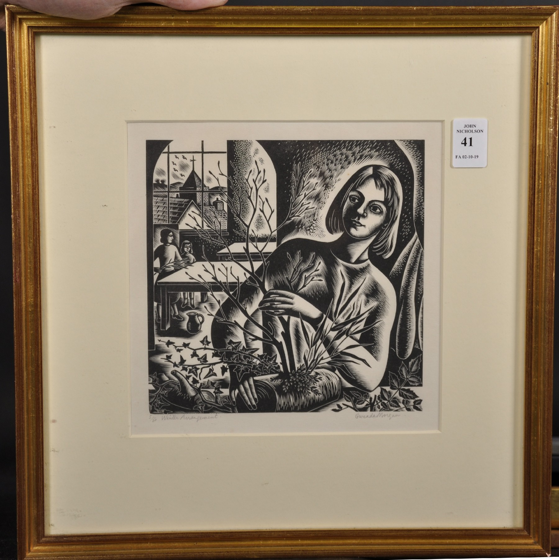 """Gwenda Morgan (1908-1991) British. """"Winter Arrangement"""", Woodcut, Signed, Inscribed and Numbered 5/ - Image 2 of 5"""