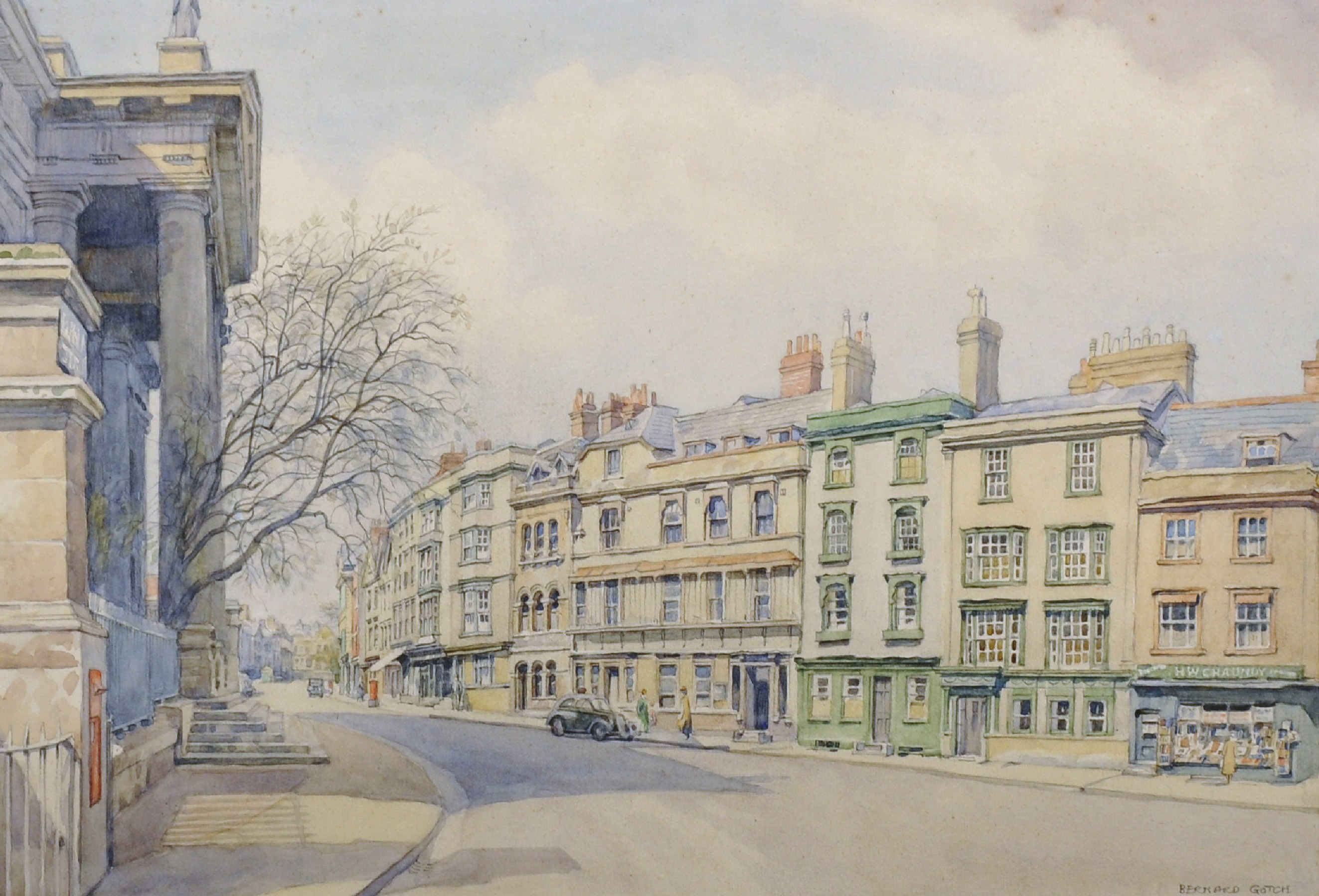 "Bernard Cecil Gotch (1876-1963) British. 'The High Street, Oxford', Watercolour, Signed, 10.5"" x"