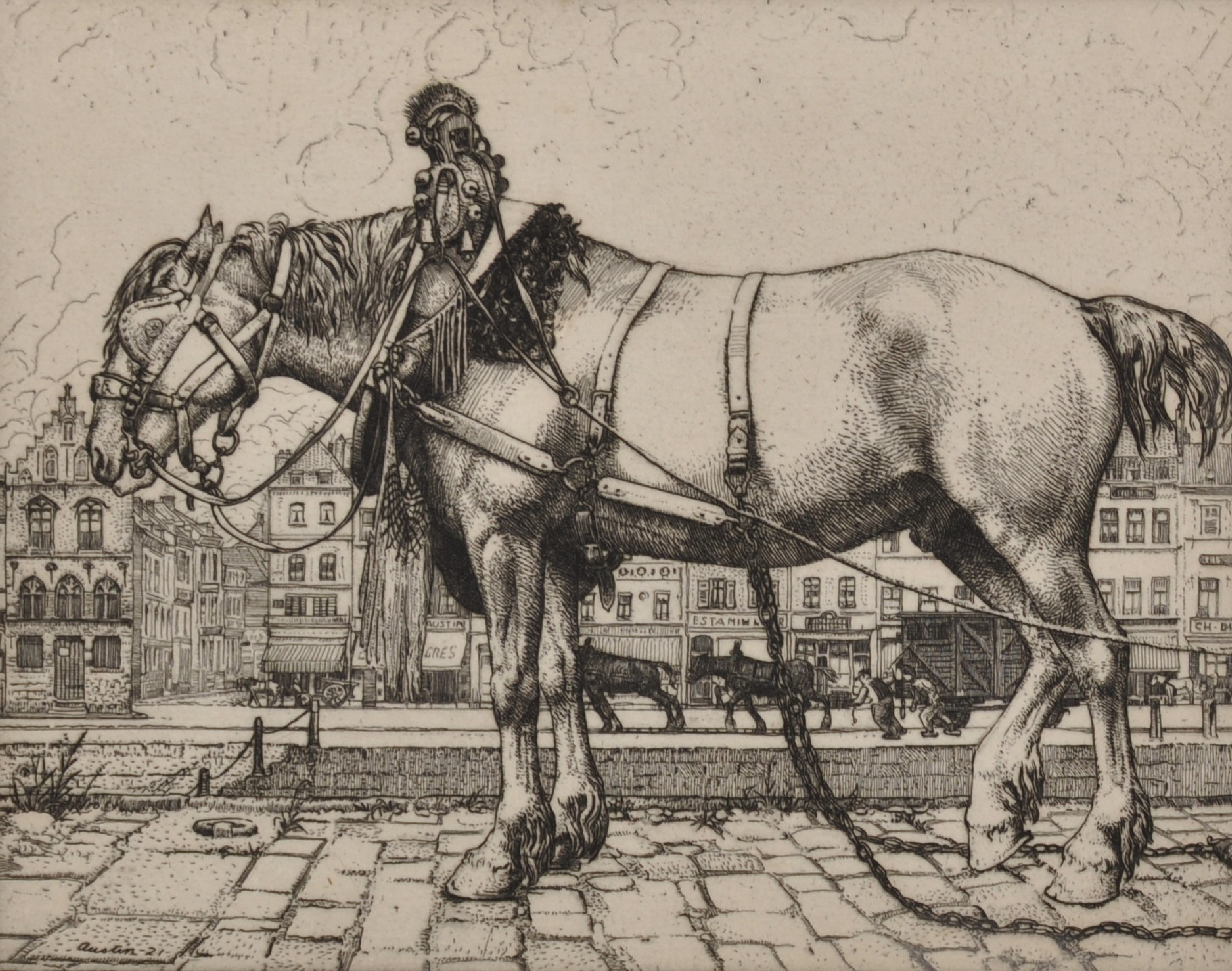 "Robert Sargent Austin (1895-1973) British. ""The Horse of Ostend"", Etching, Signed and Inscribed in"