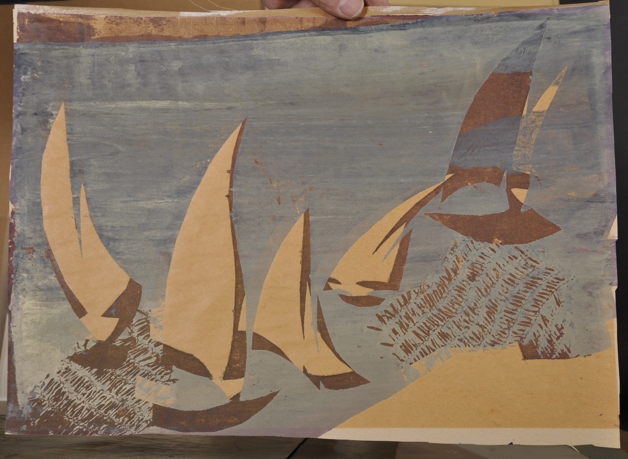 """Early 20th Century European School. Sailing Boats, Woodblock, Unframed, 12"""" x 16.75"""", and another by - Image 2 of 3"""