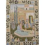 """19th Century Islamic School. Figures in a Temple, Watercolour on Fabric, Unframed, 20.25"""" x 15""""."""