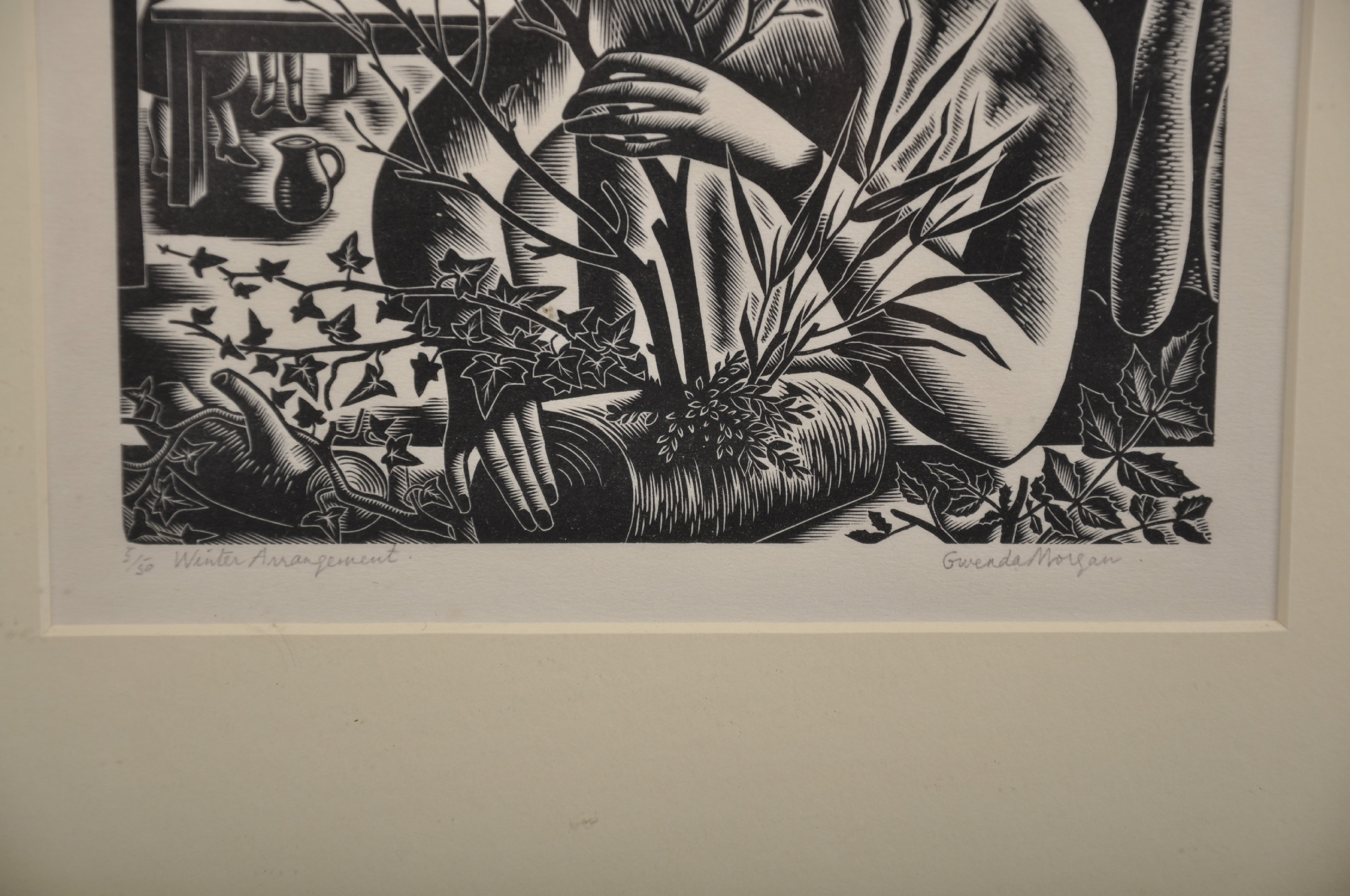 """Gwenda Morgan (1908-1991) British. """"Winter Arrangement"""", Woodcut, Signed, Inscribed and Numbered 5/ - Image 3 of 5"""