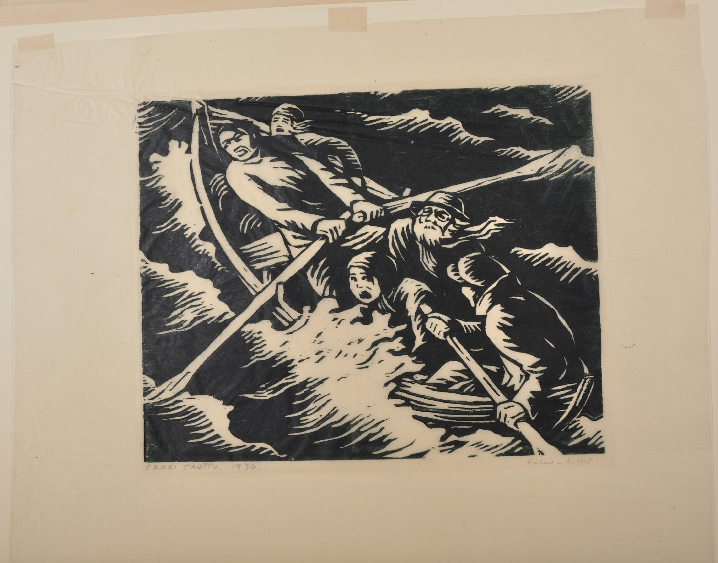 Erkki Tanttu (1907-1985) Finnish. Figures in a Rowing Boat, in Storm Sea, Woodcut, Signed, Inscribed - Image 2 of 3