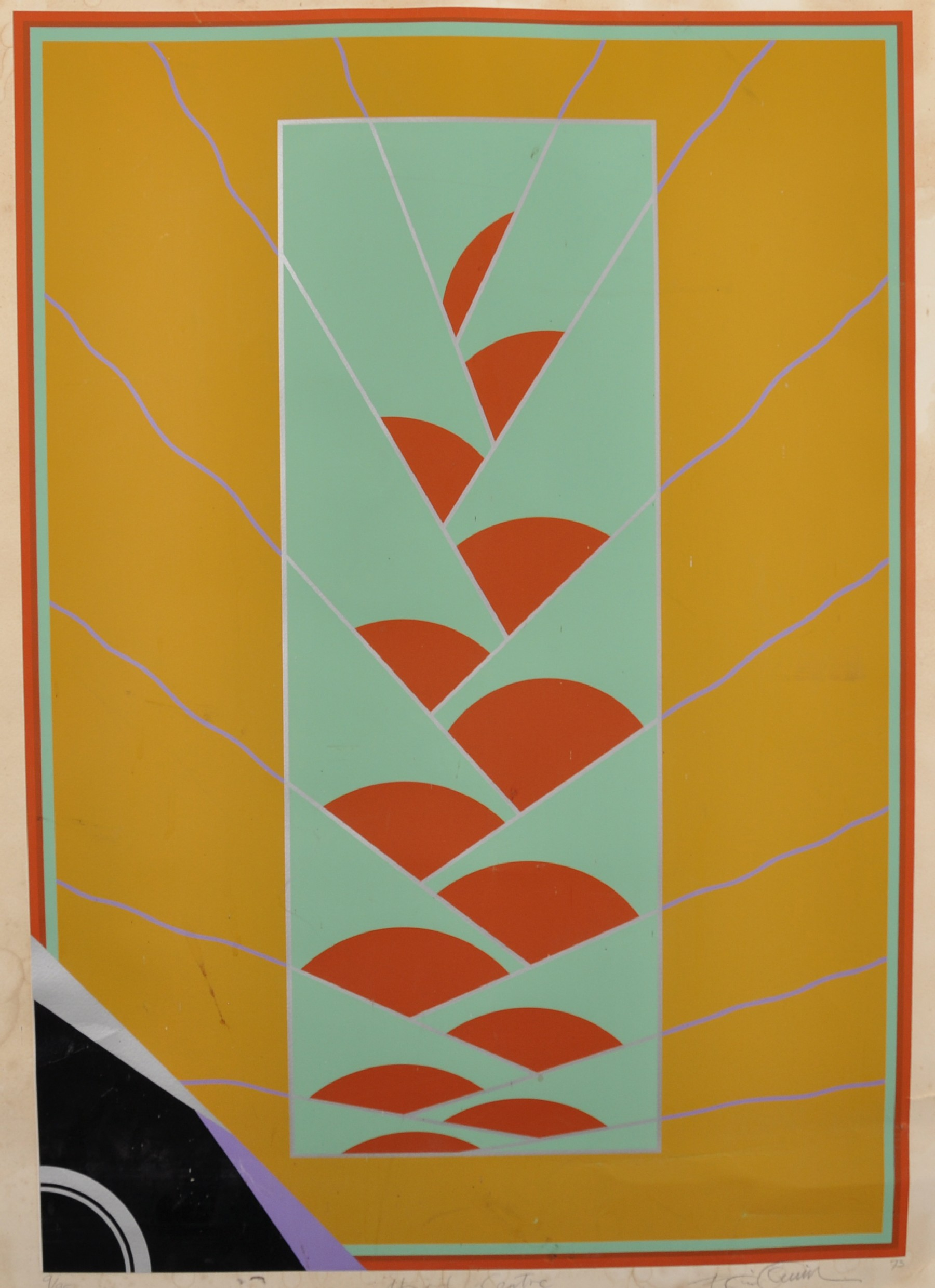 """20th Century English School. """"Hard Centre"""", Serigraph, Indistinctly Signed, Inscribed, Dated '73 and"""