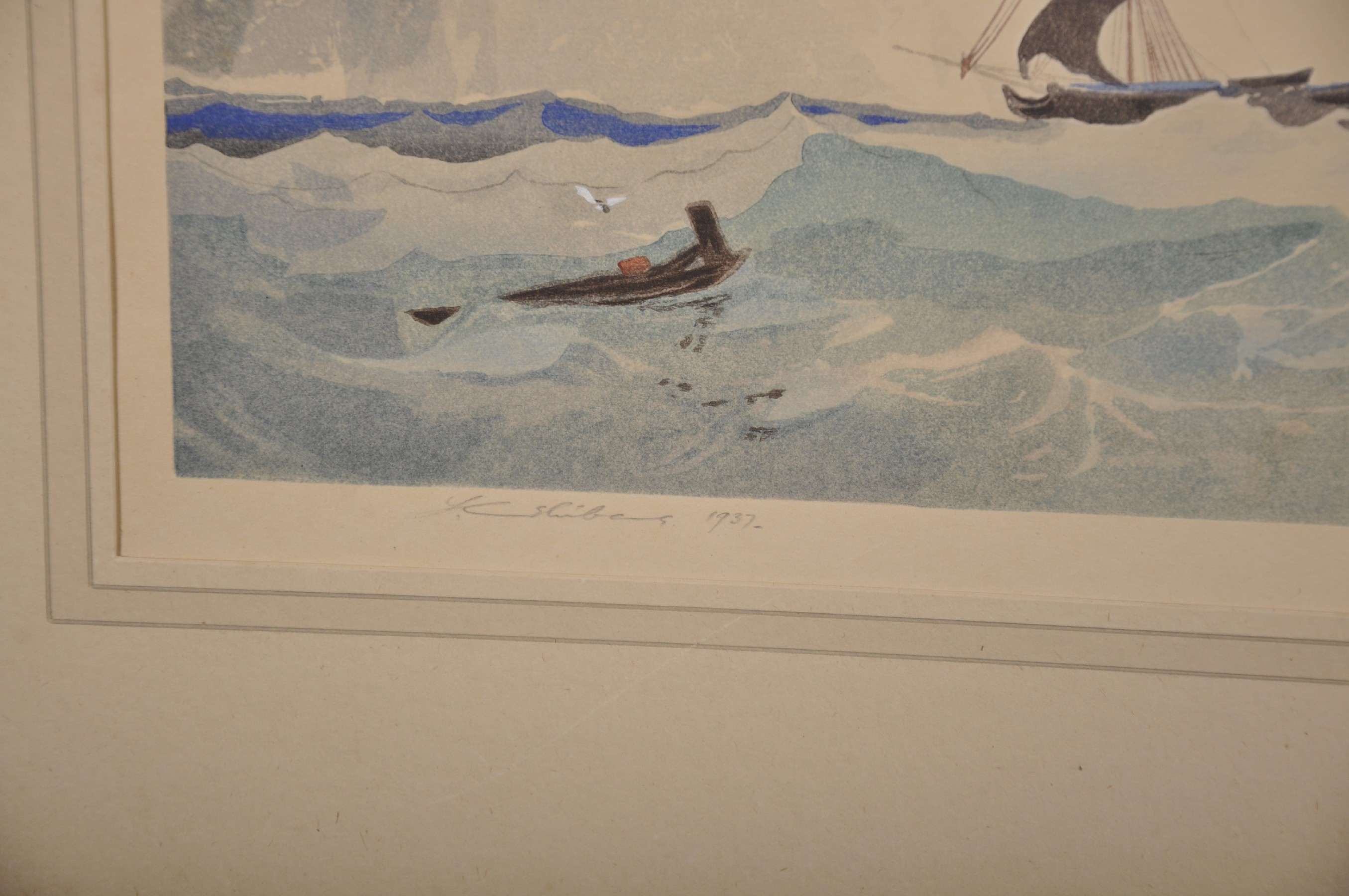 Lot 48 - Mokuchu Urushibara (1888-1953) Japanese. A Shipping Scene, after JS Cotman, Woodcut in Colours,